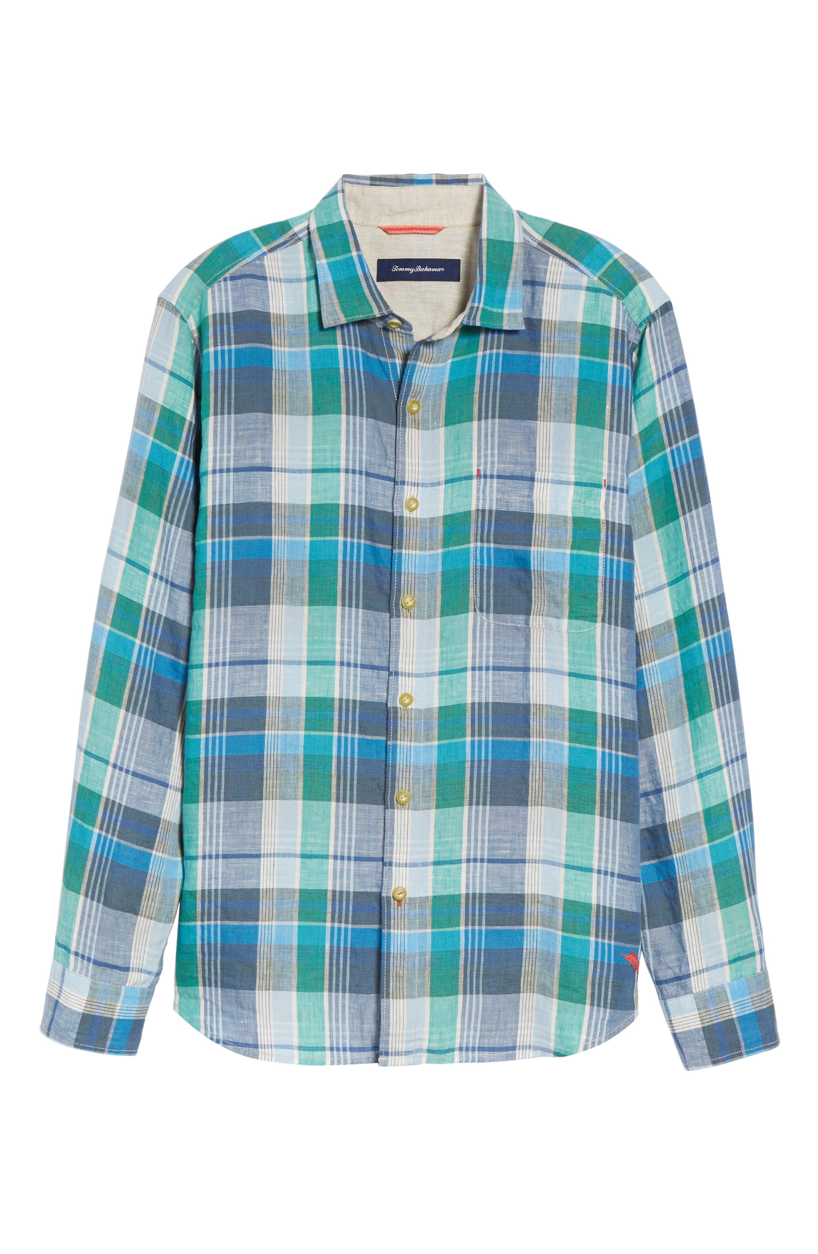 TOMMY BAHAMA,                             Vero Beach Madras Plaid Linen Sport Shirt,                             Alternate thumbnail 6, color,                             300