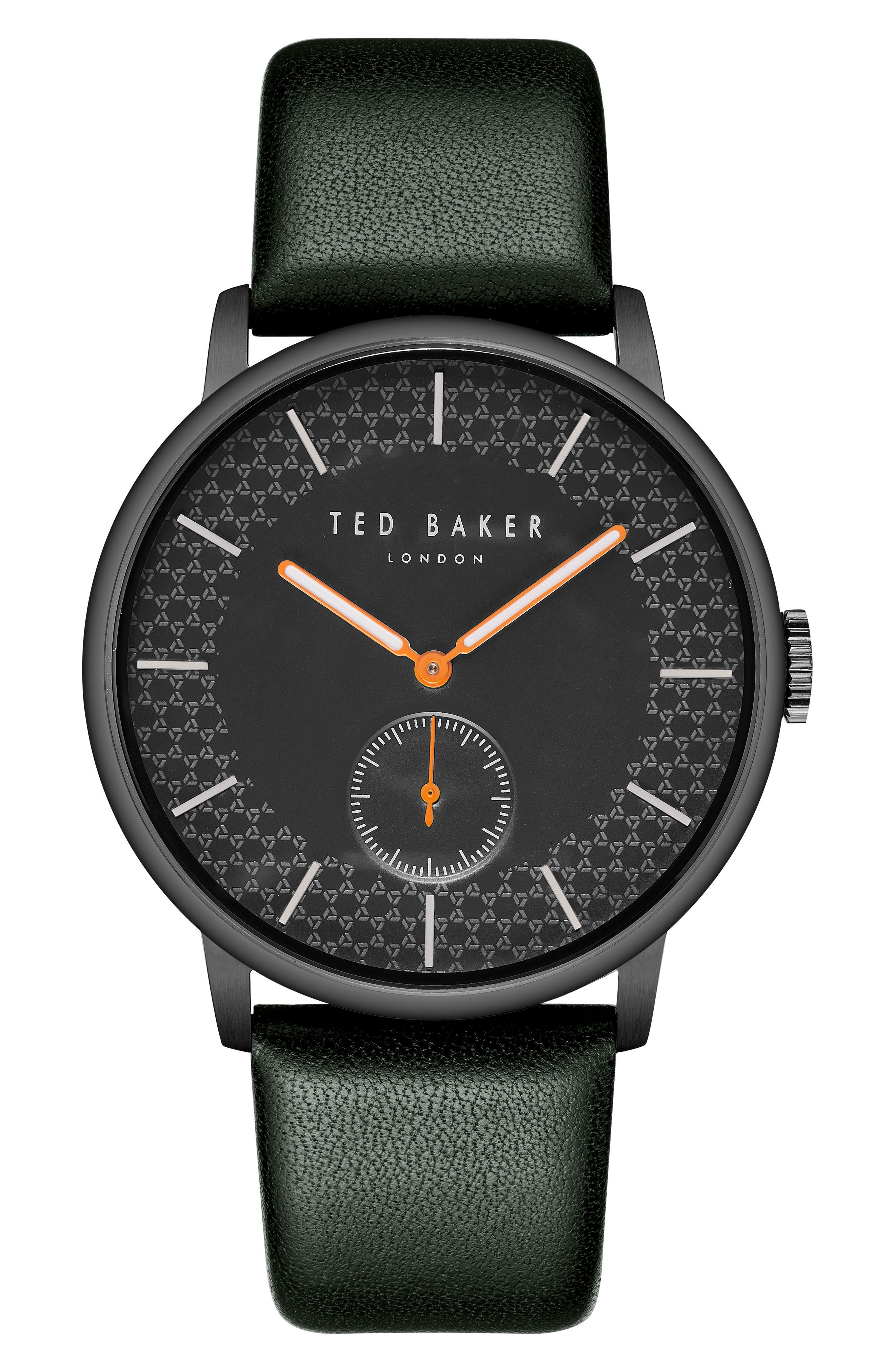 James Leather Strap Watch, 42mm,                             Main thumbnail 1, color,                             BLACK/ DARK GREEN