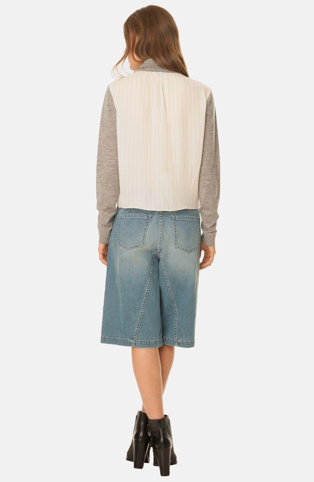 Denim Culotte Shorts,                             Alternate thumbnail 2, color,                             400