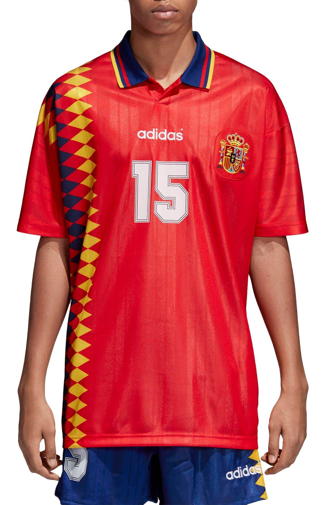 adidas Original Spain 1994 Soccer Jersey,                             Main thumbnail 1, color,                             625