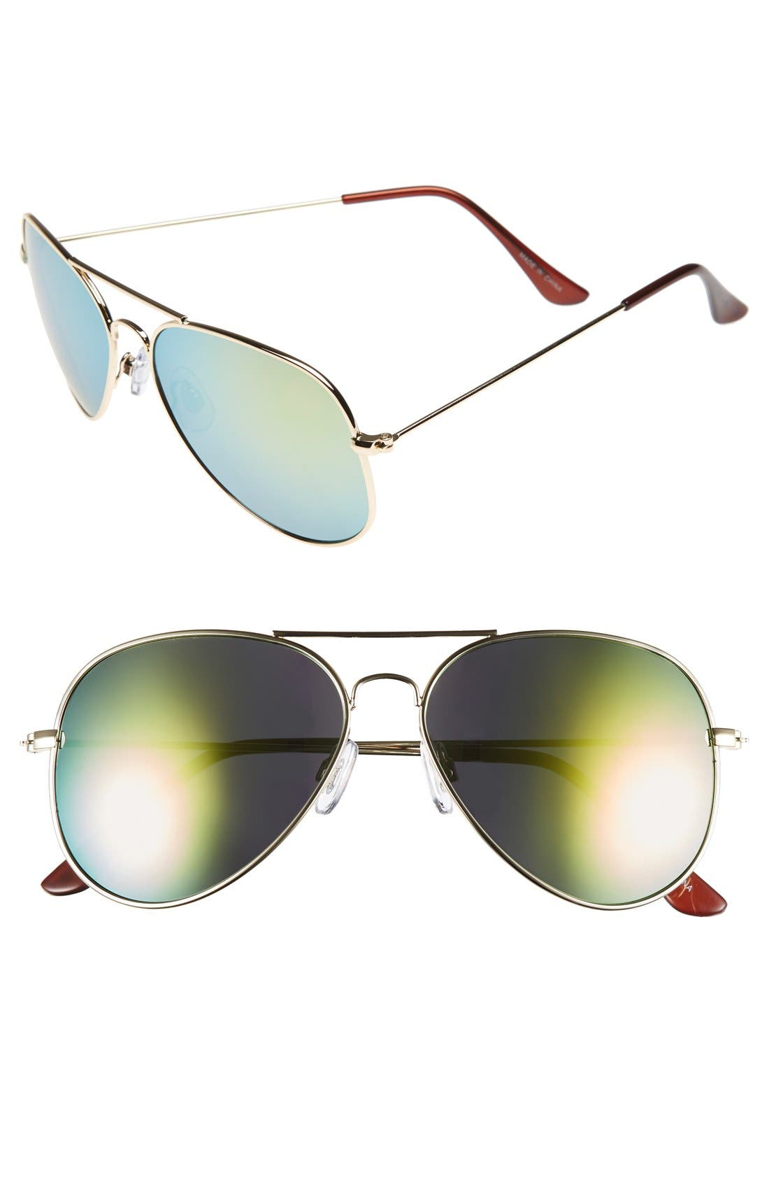 Mirrored Aviator 57mm Sunglasses,                             Main thumbnail 10, color,