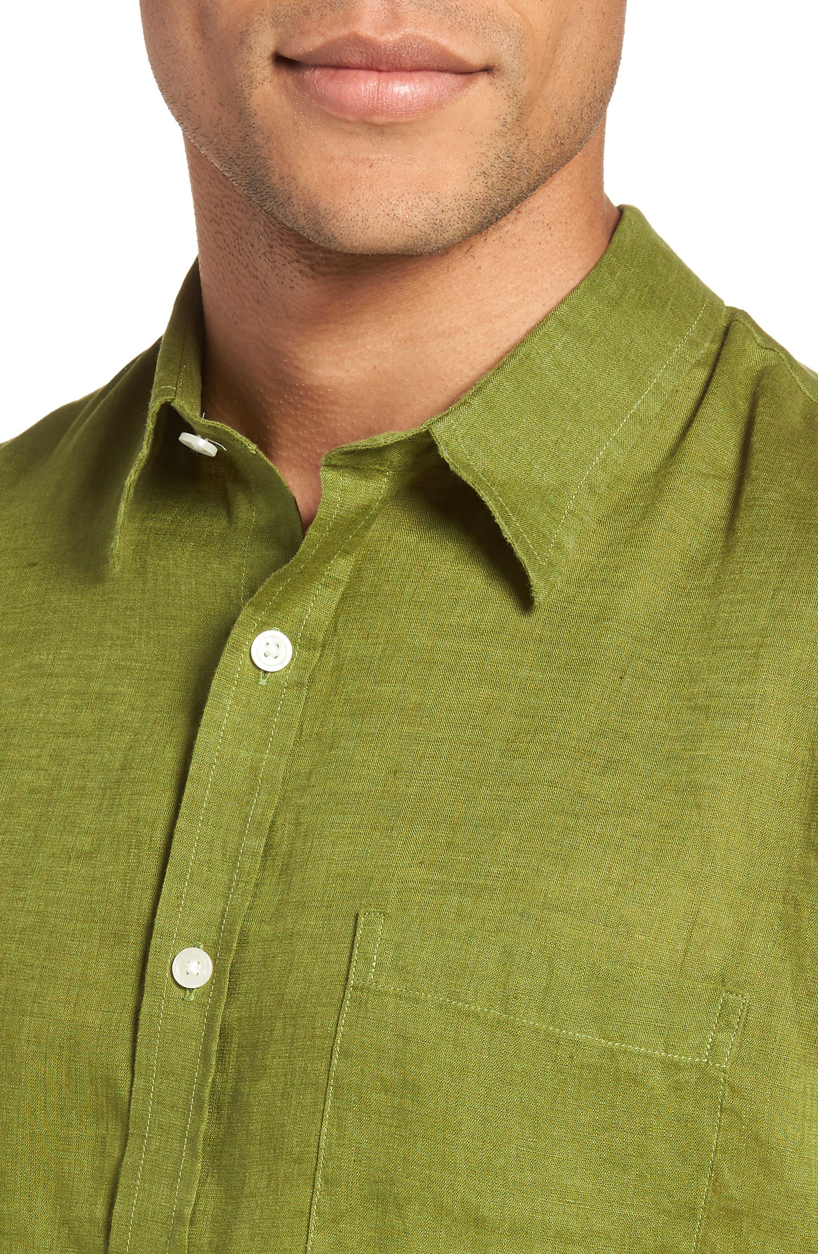Classic Fit Sport Shirt,                             Alternate thumbnail 4, color,                             PASTURE