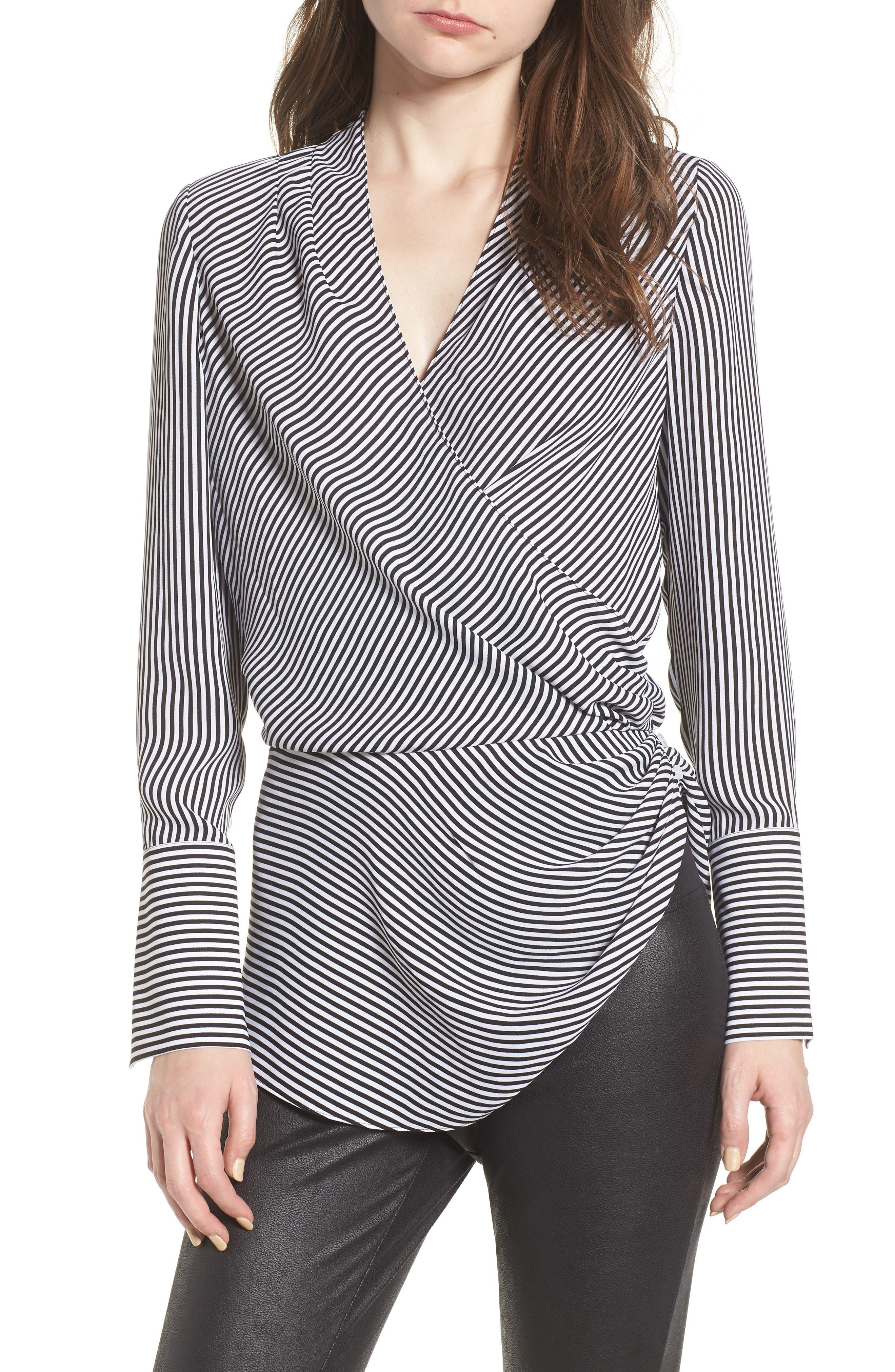 Long Sleeve Wrap Blouse,                         Main,                         color, BLACK- WHITE STRIPE
