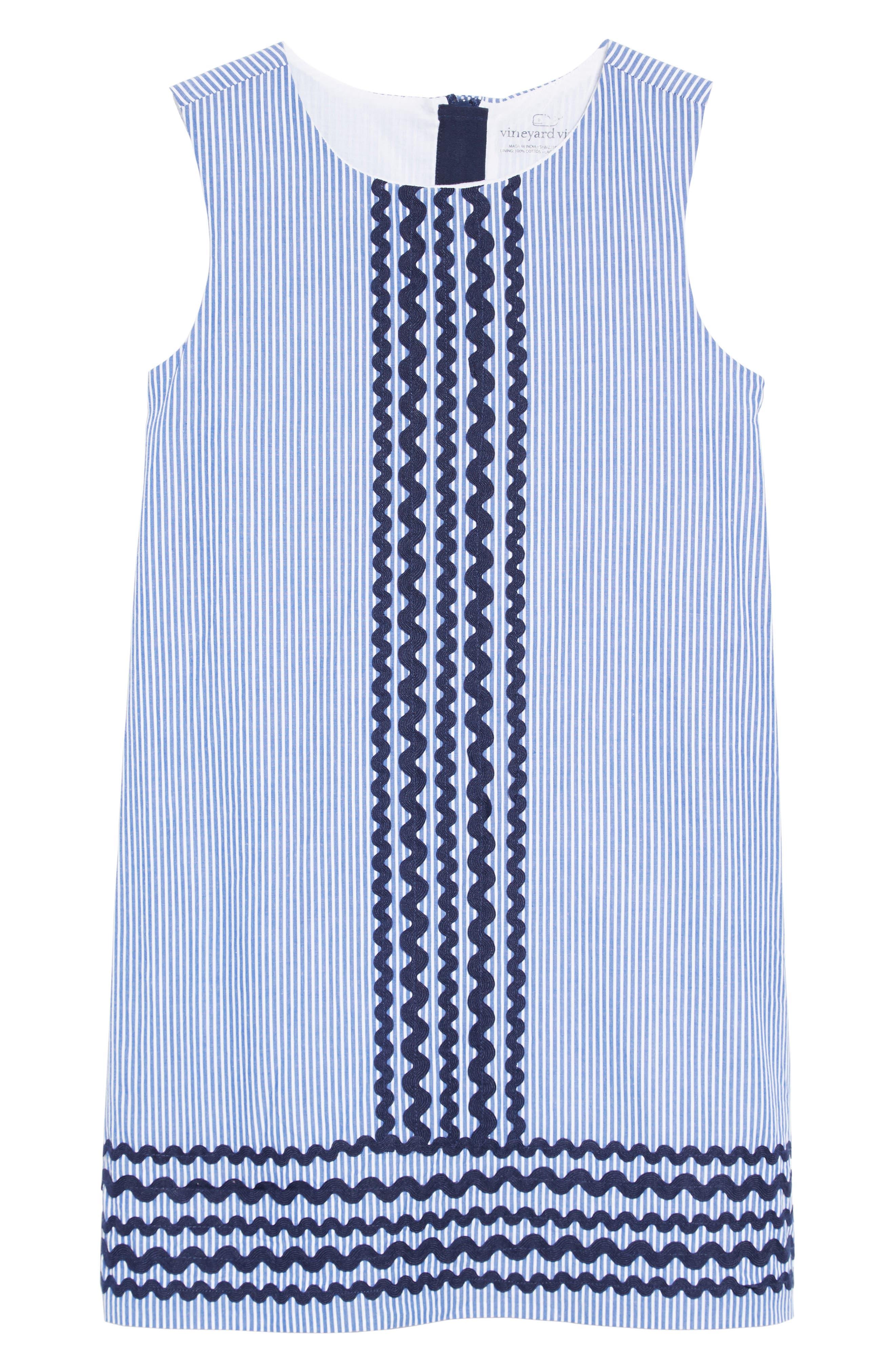 Ric Rac Stripe Shift Dress,                         Main,                         color, DEEP BAY