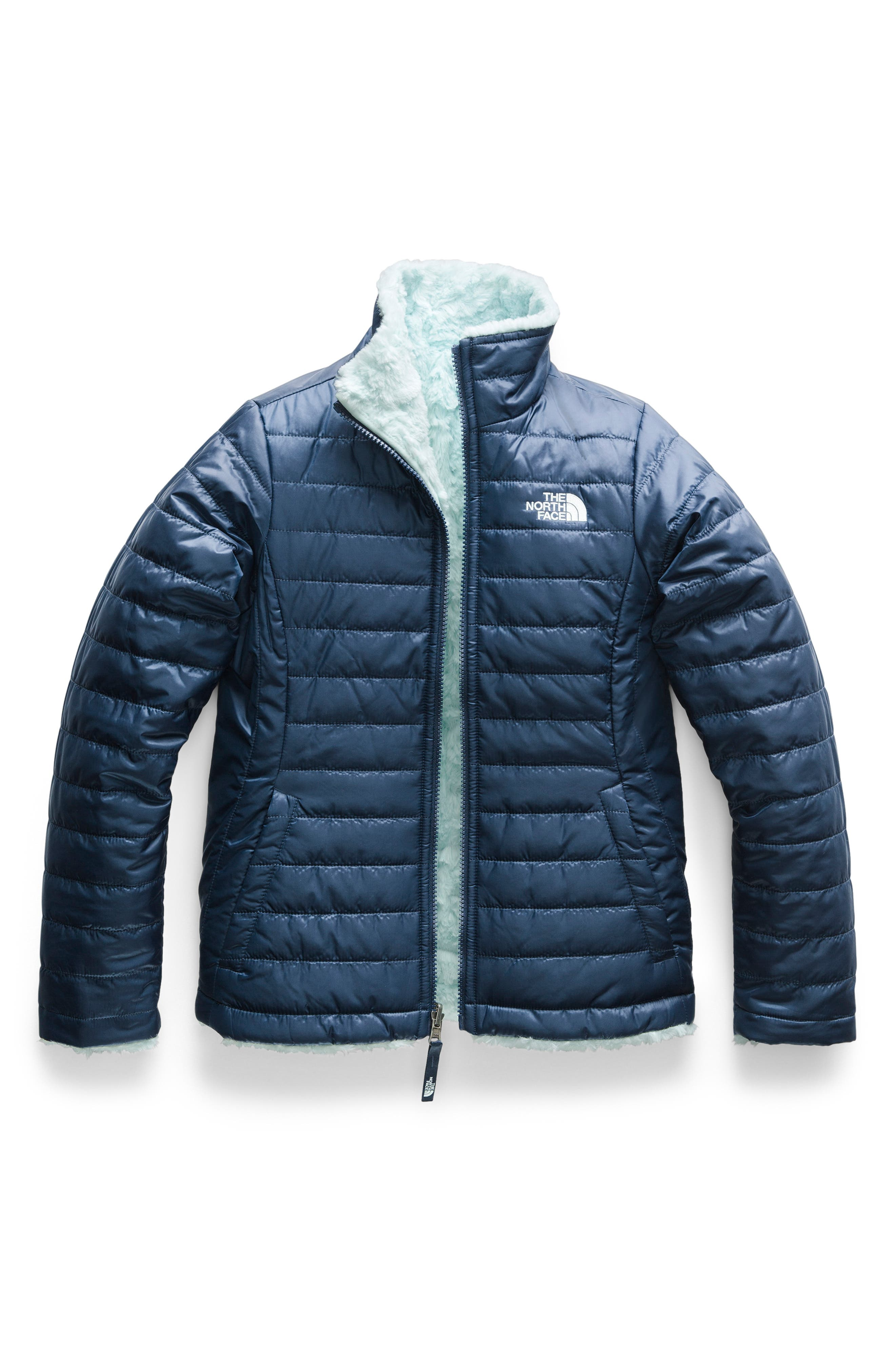 Girls The North Face Mossbud Swirl Reversible Water Repellent Jacket Size XL (18)  Blue