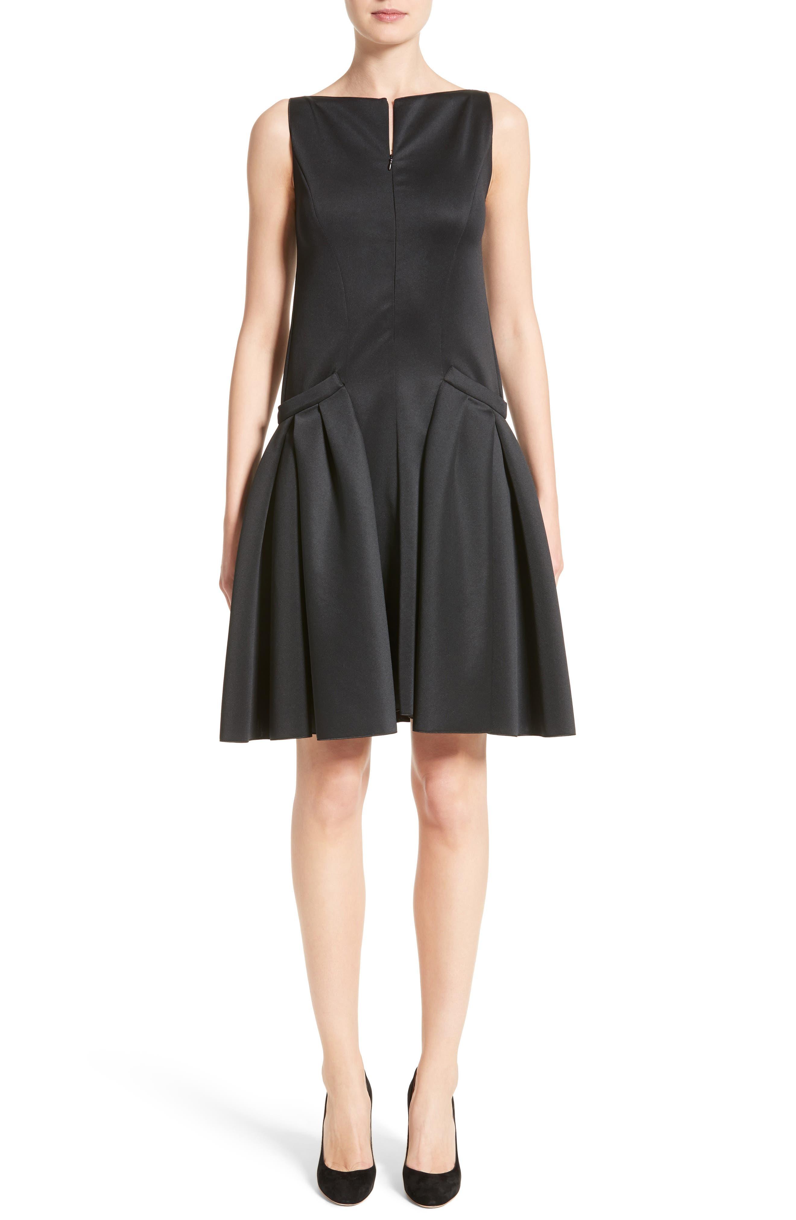 Neoprene Fit & Flare Dress,                             Main thumbnail 1, color,                             001