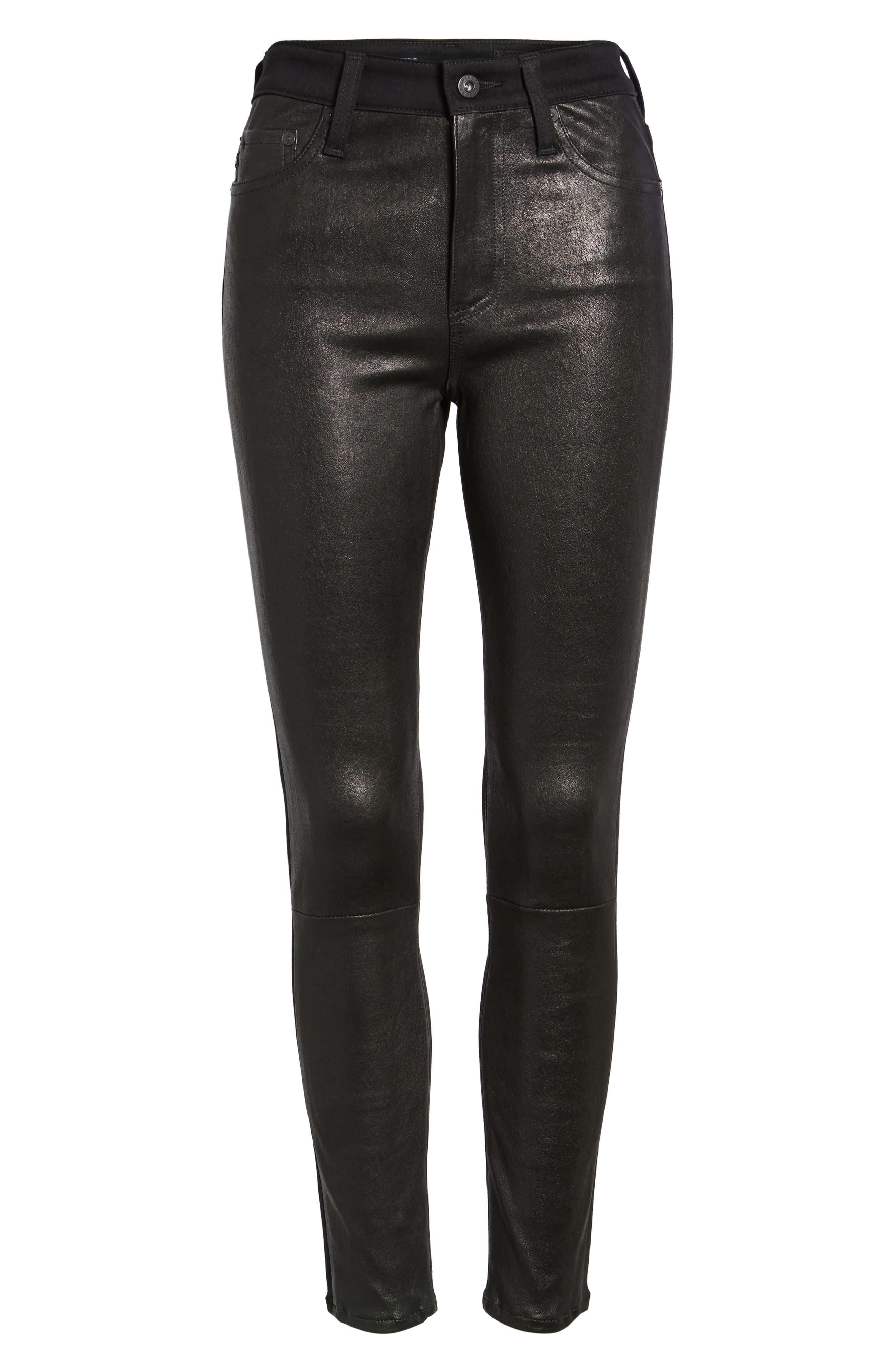 The Farrah High Waist Ankle Skinny Faux Leather Pants,                             Alternate thumbnail 18, color,