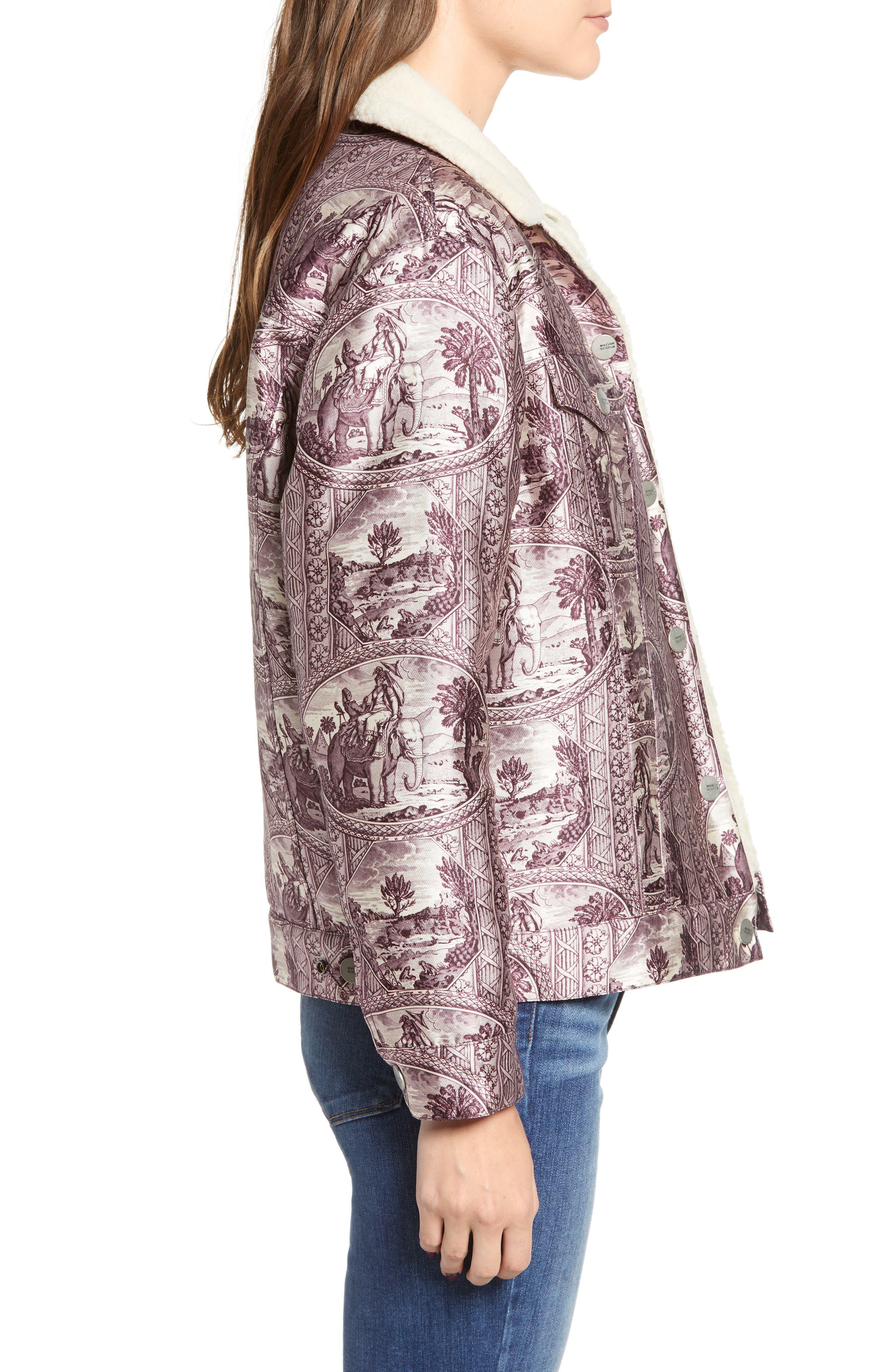 Fleece Lined Print Trucker Jacket,                             Alternate thumbnail 3, color,                             LILAC ELEPHANT PRINT