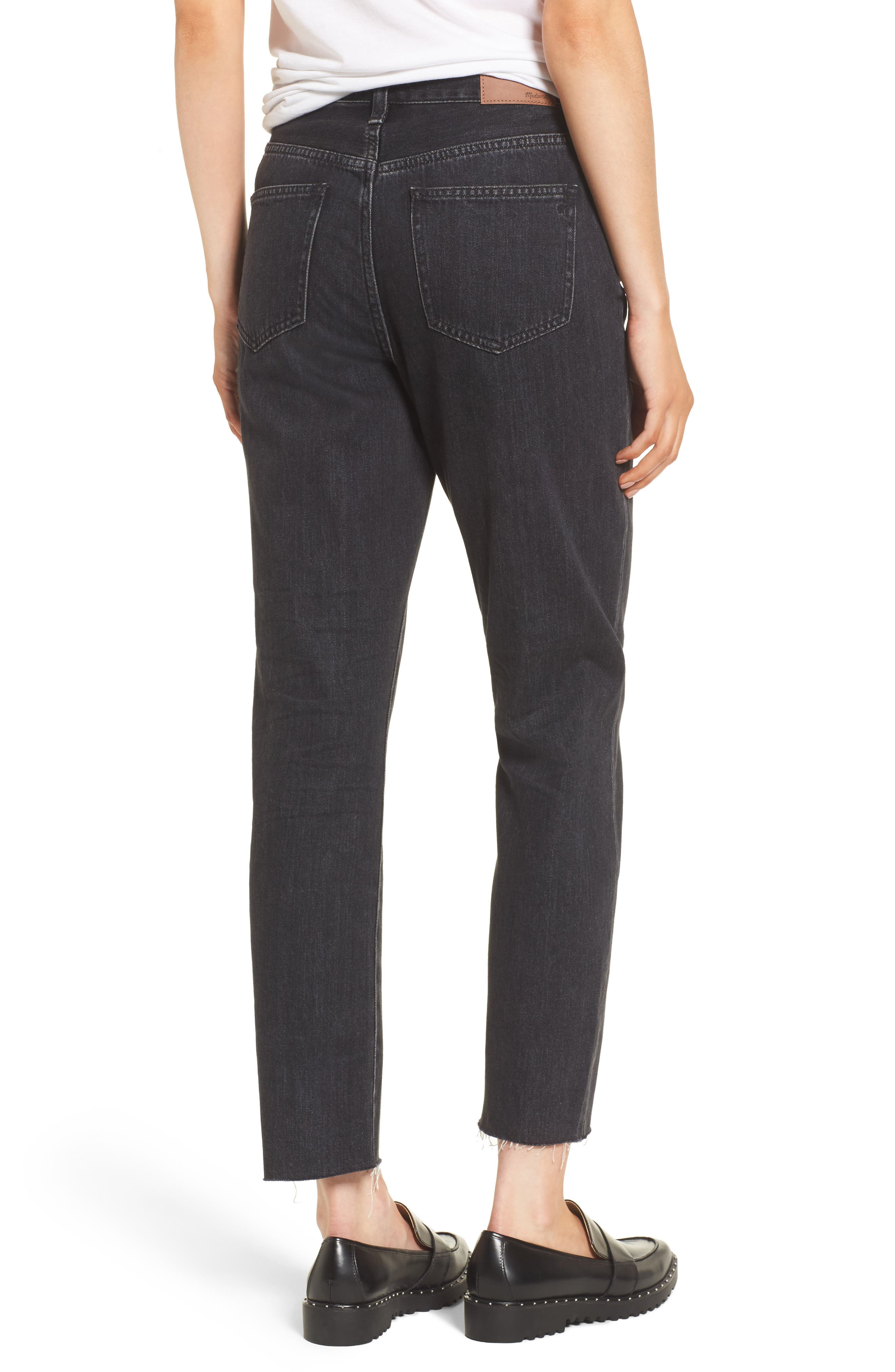 The Perfect Summer 11-Inch High Waist Ankle Straight Leg Jeans,                             Alternate thumbnail 2, color,                             009