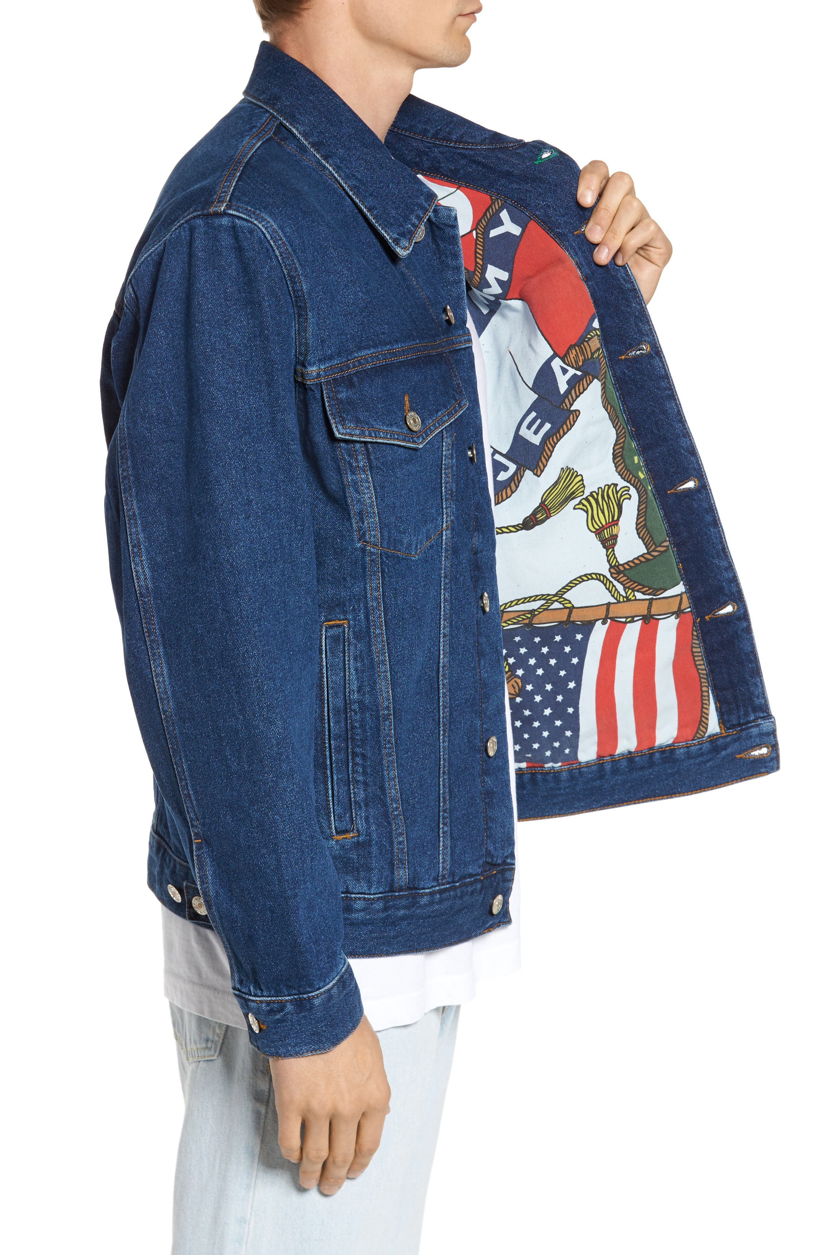 TOMMY HILFIGER,                             90s Denim Jacket,                             Alternate thumbnail 3, color,                             411