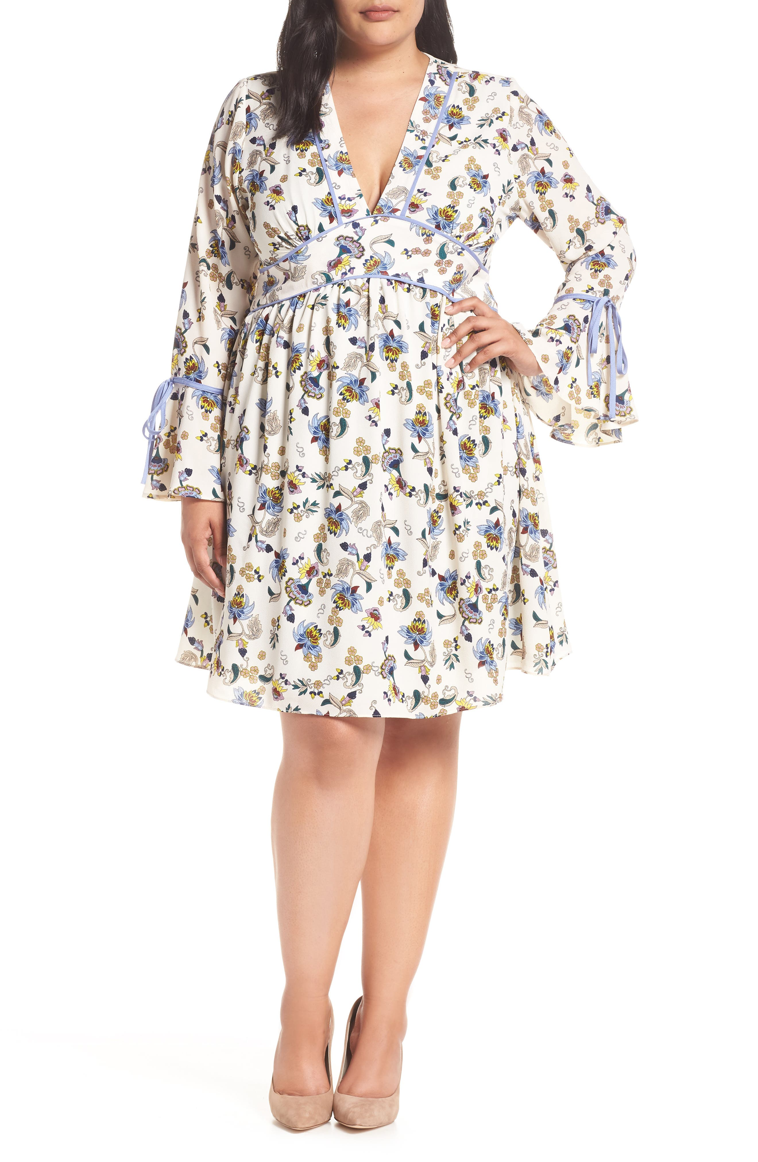 GLAMOROUS Contrast Detail Tie Sleeve Dress in Cream Blue Floral