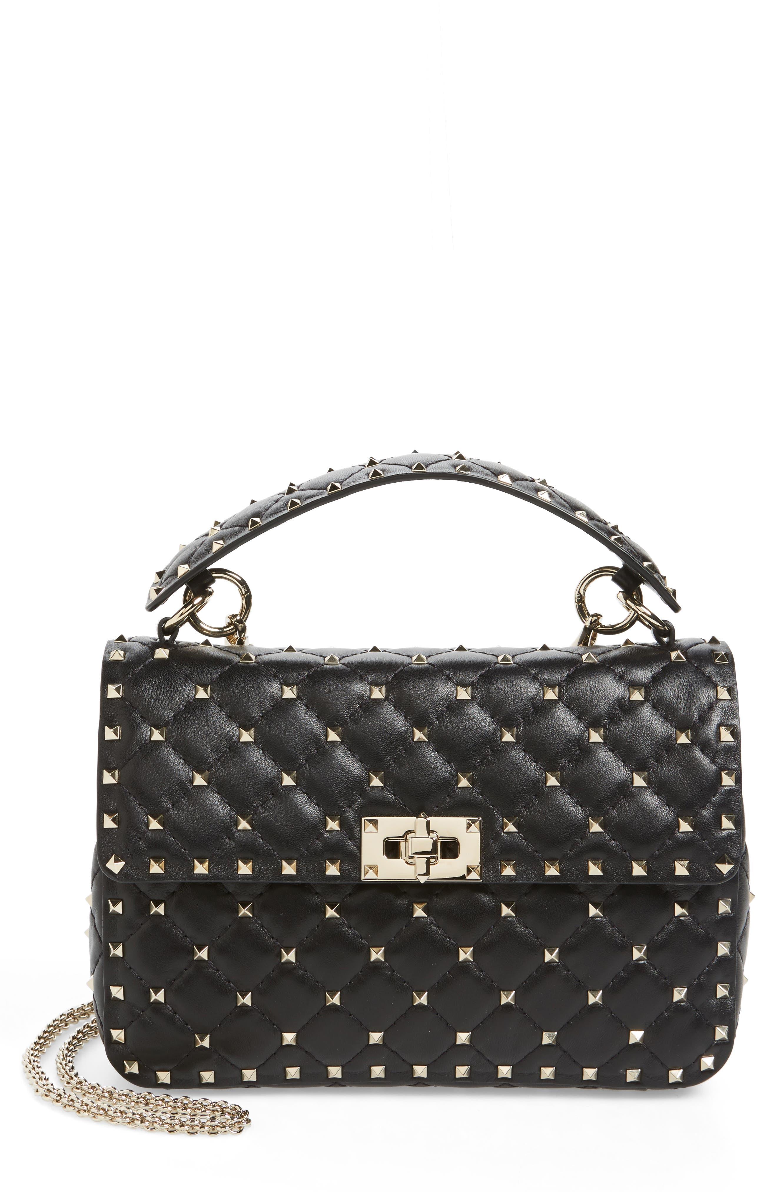 Medium Rockstud Spike Crossbody Bag,                         Main,                         color, 001