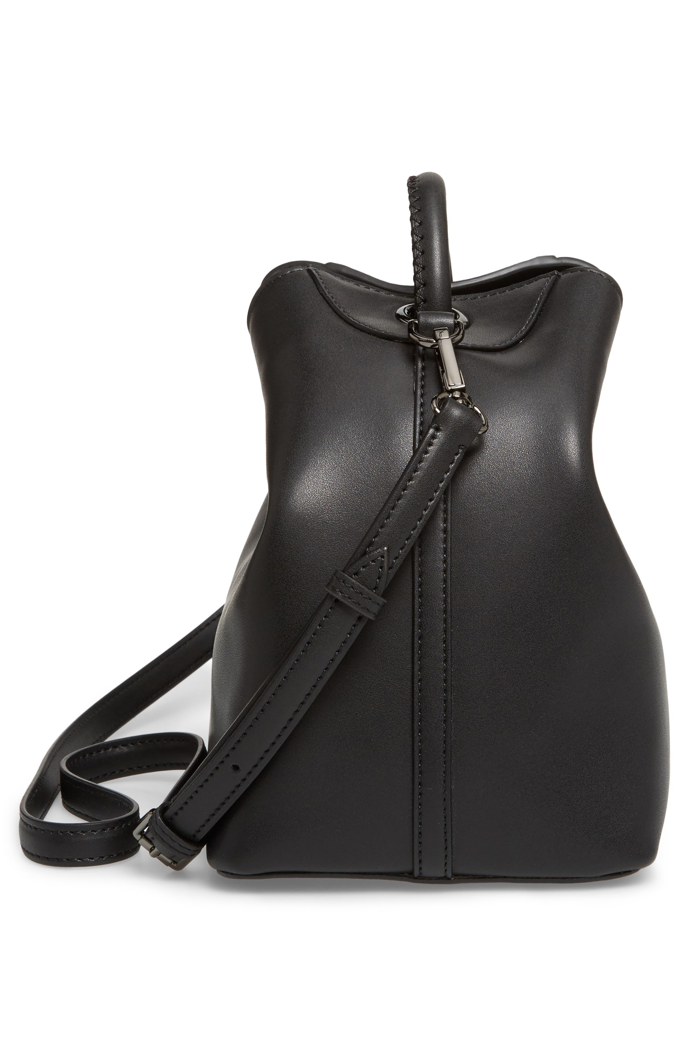 Raisin Leather Handbag,                             Alternate thumbnail 5, color,                             001