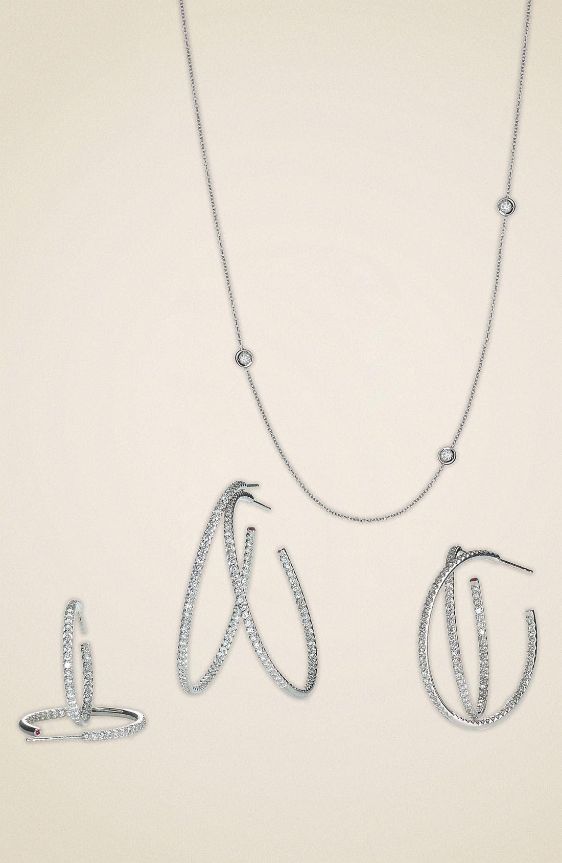 ROBERTO COIN,                             Extra Large Diamond Hoop Earrings,                             Alternate thumbnail 3, color,                             711
