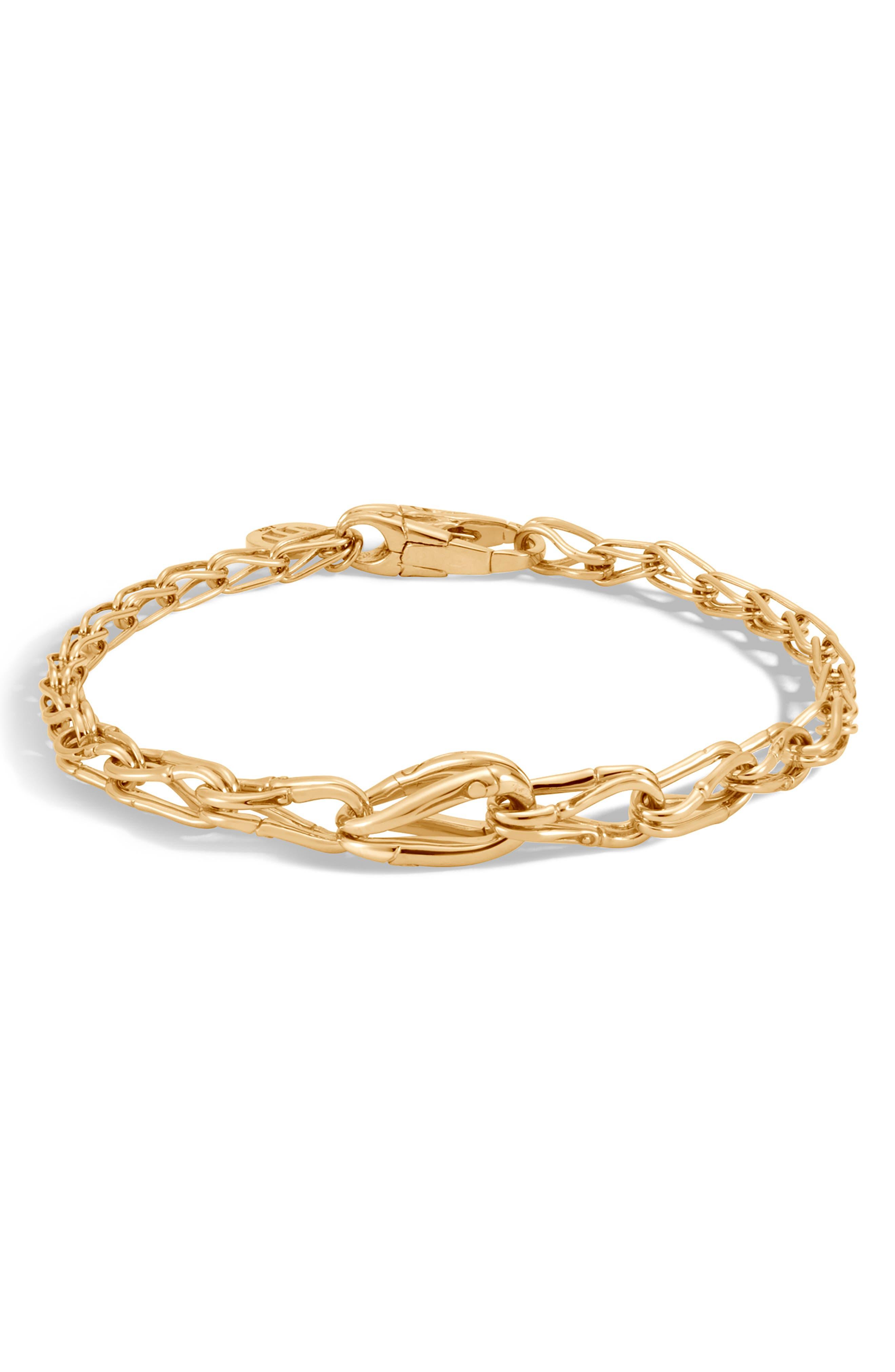 Bamboo 18K Gold Graduated Link Bracelet,                         Main,                         color, GOLD