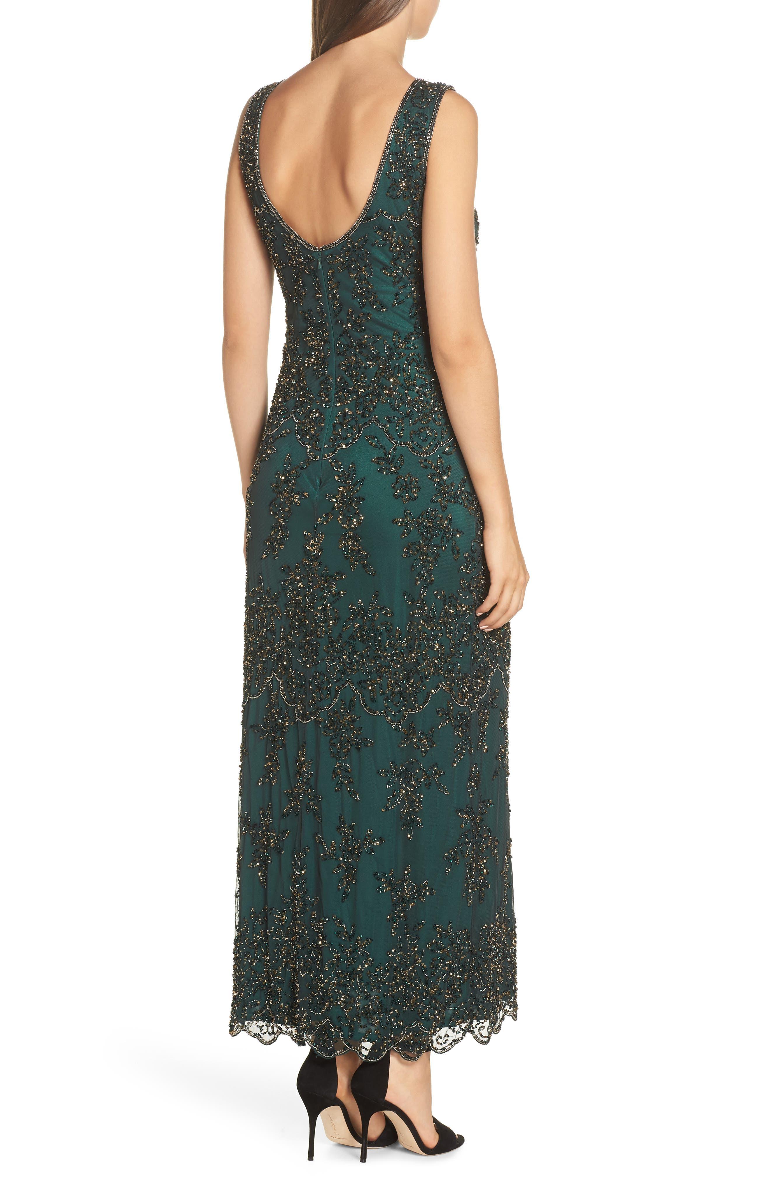 Embellished Mesh Gown,                             Alternate thumbnail 2, color,                             HUNTER
