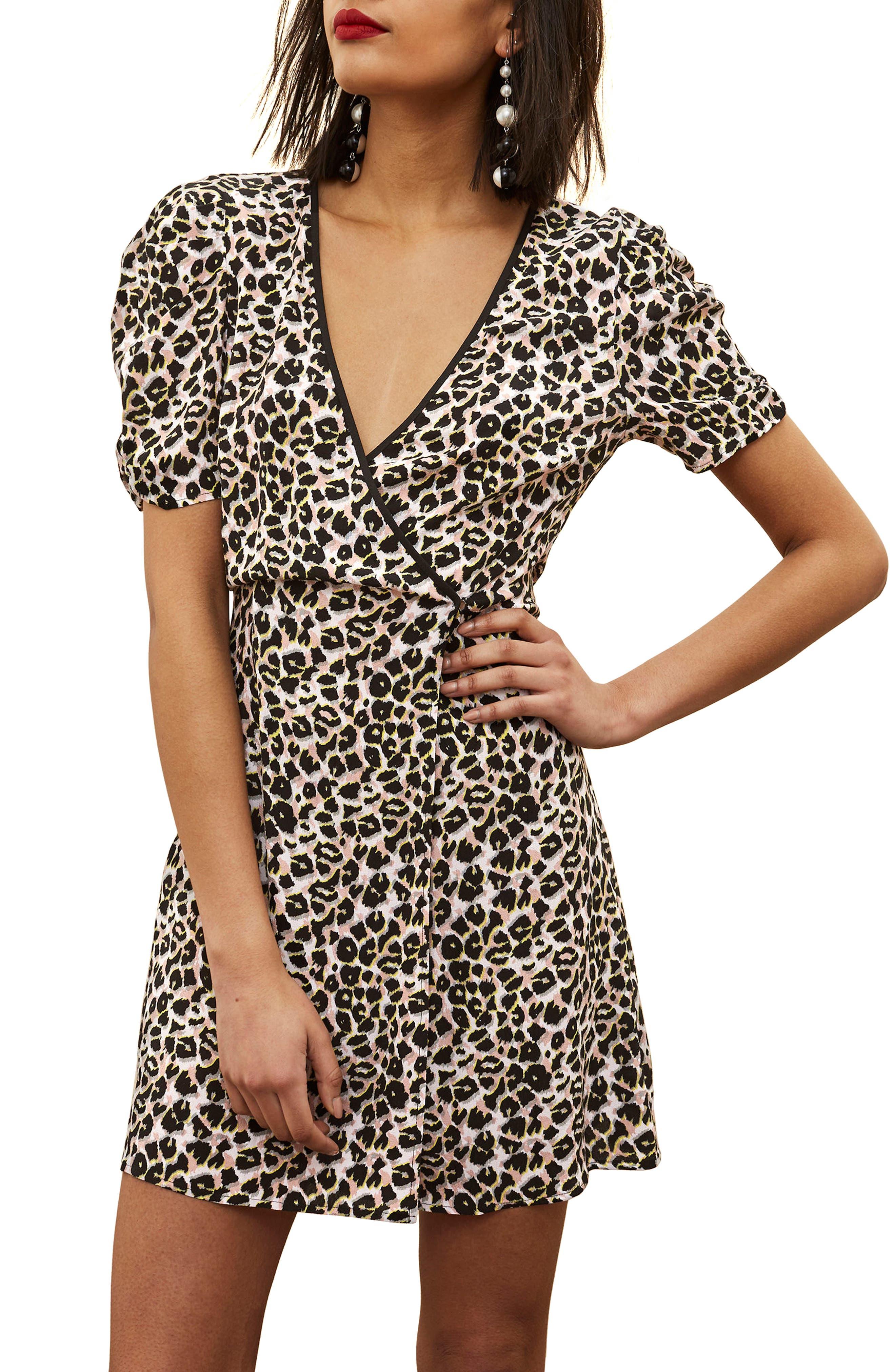 Leopard Wrap Minidress,                         Main,                         color, 201