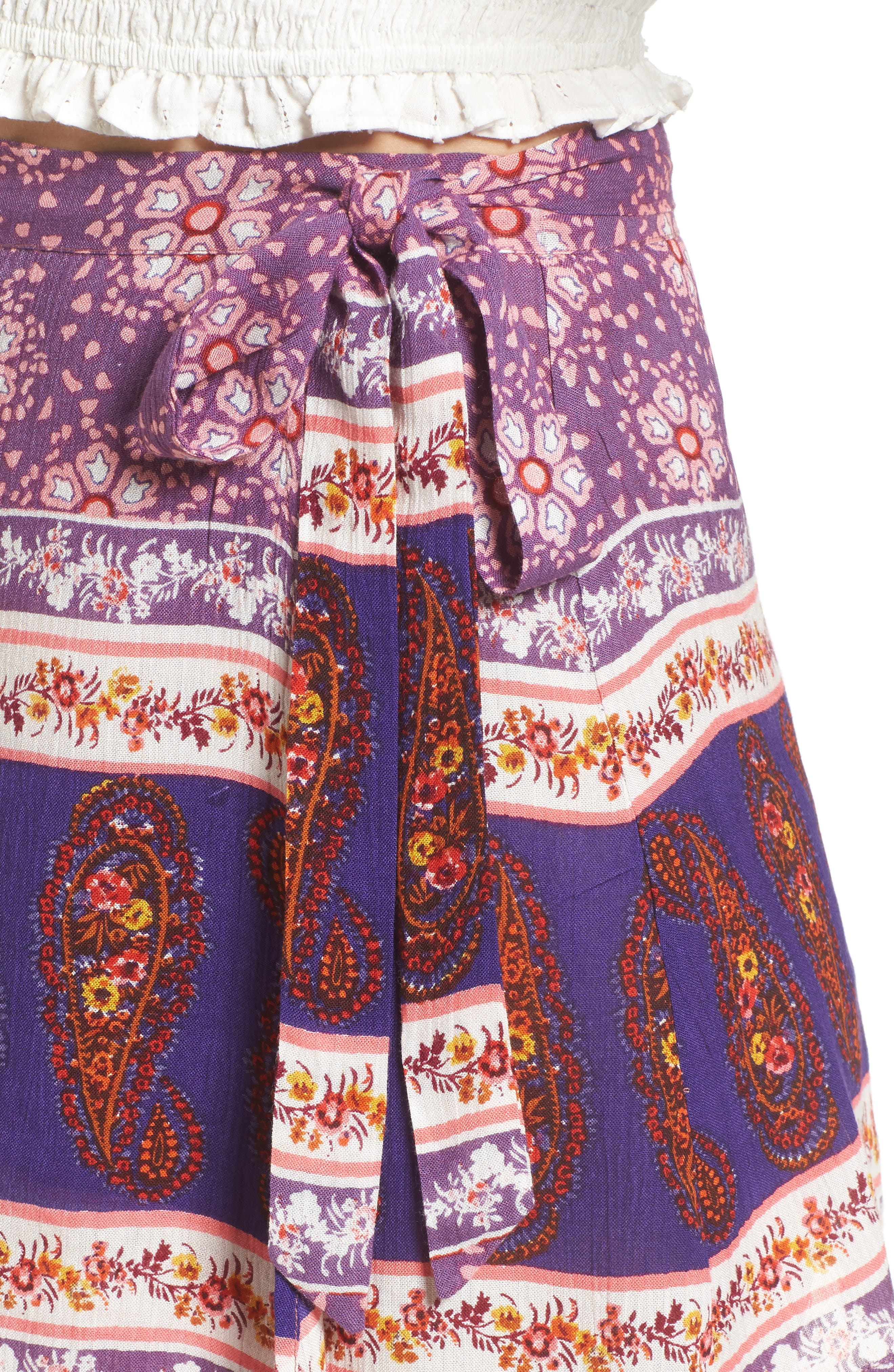 Dana Floral Wrap Skirt,                             Alternate thumbnail 4, color,                             500