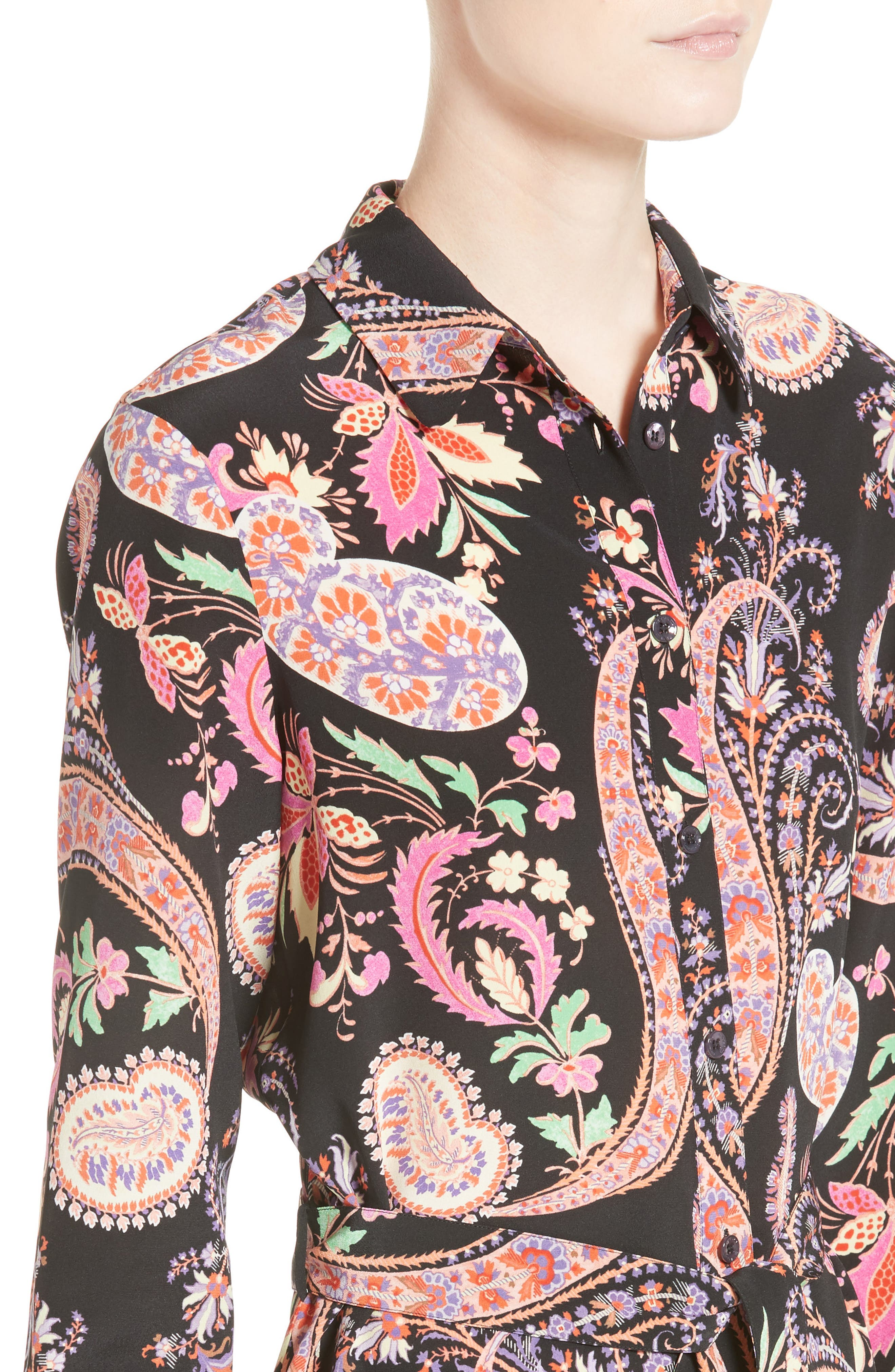 Floral Paisley Print Silk Tunic,                             Alternate thumbnail 4, color,