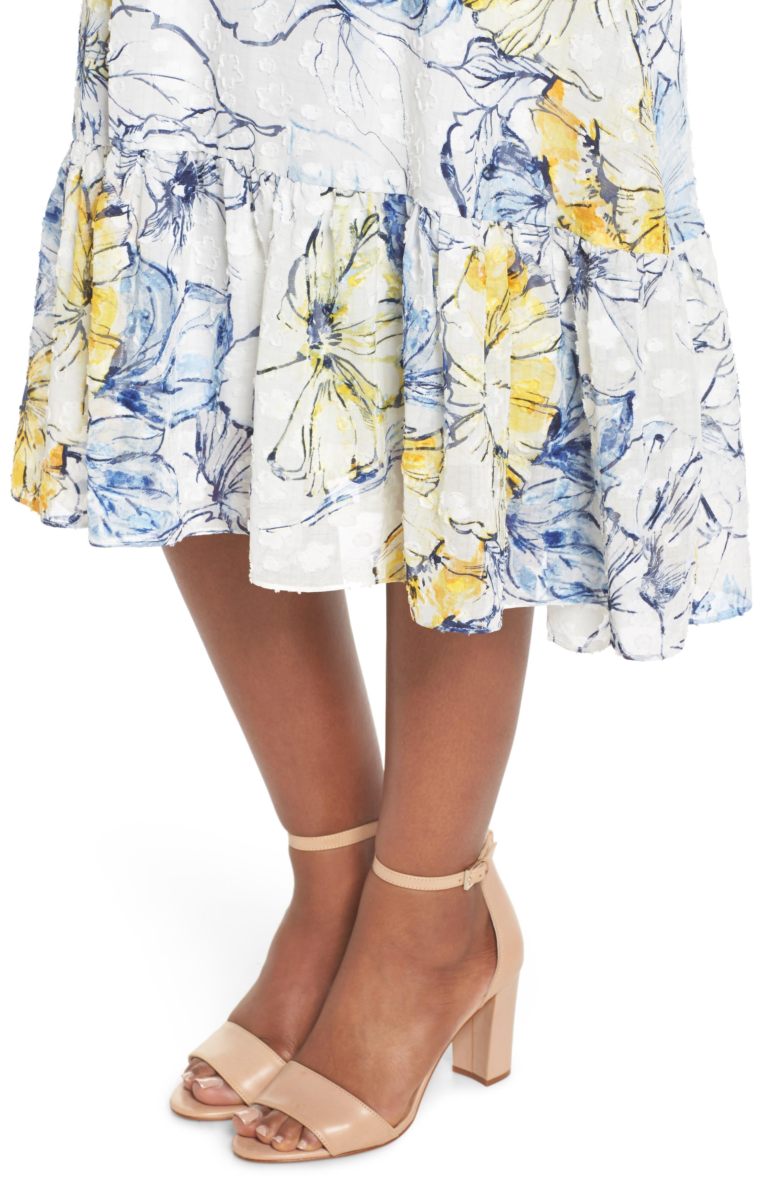 Floral Print Midi Dress,                             Alternate thumbnail 4, color,                             461