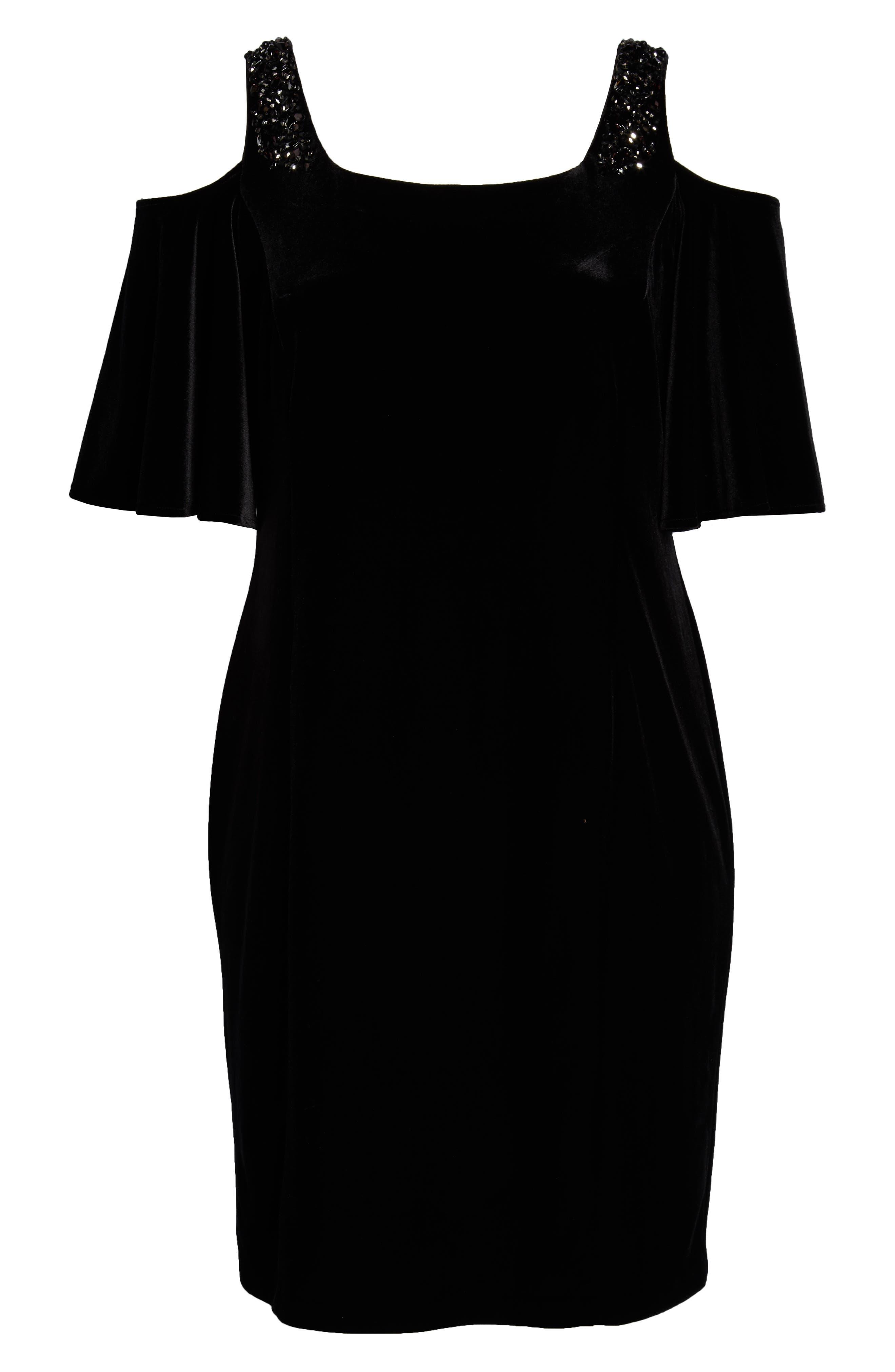 ALEX EVENINGS,                             Velvet Cold Shoulder Sheath Dress,                             Alternate thumbnail 7, color,                             001