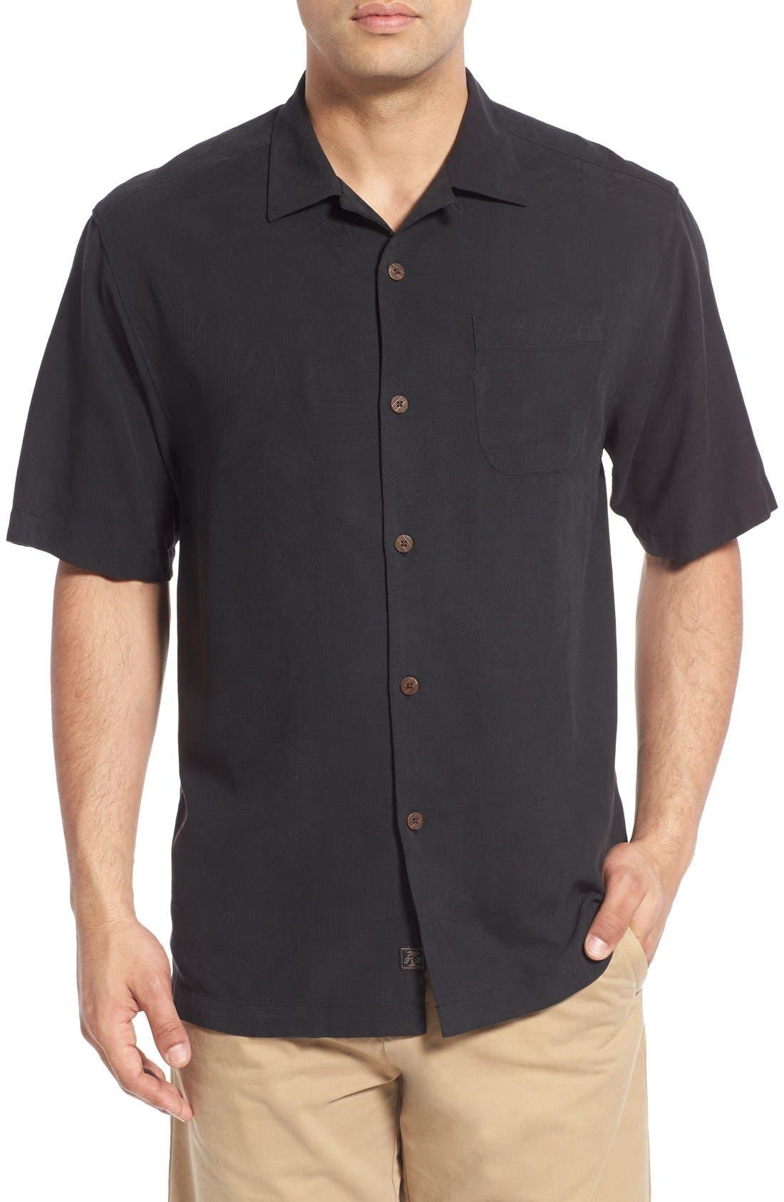 Rio Fronds Short Sleeve Silk Sport Shirt,                         Main,                         color, 001