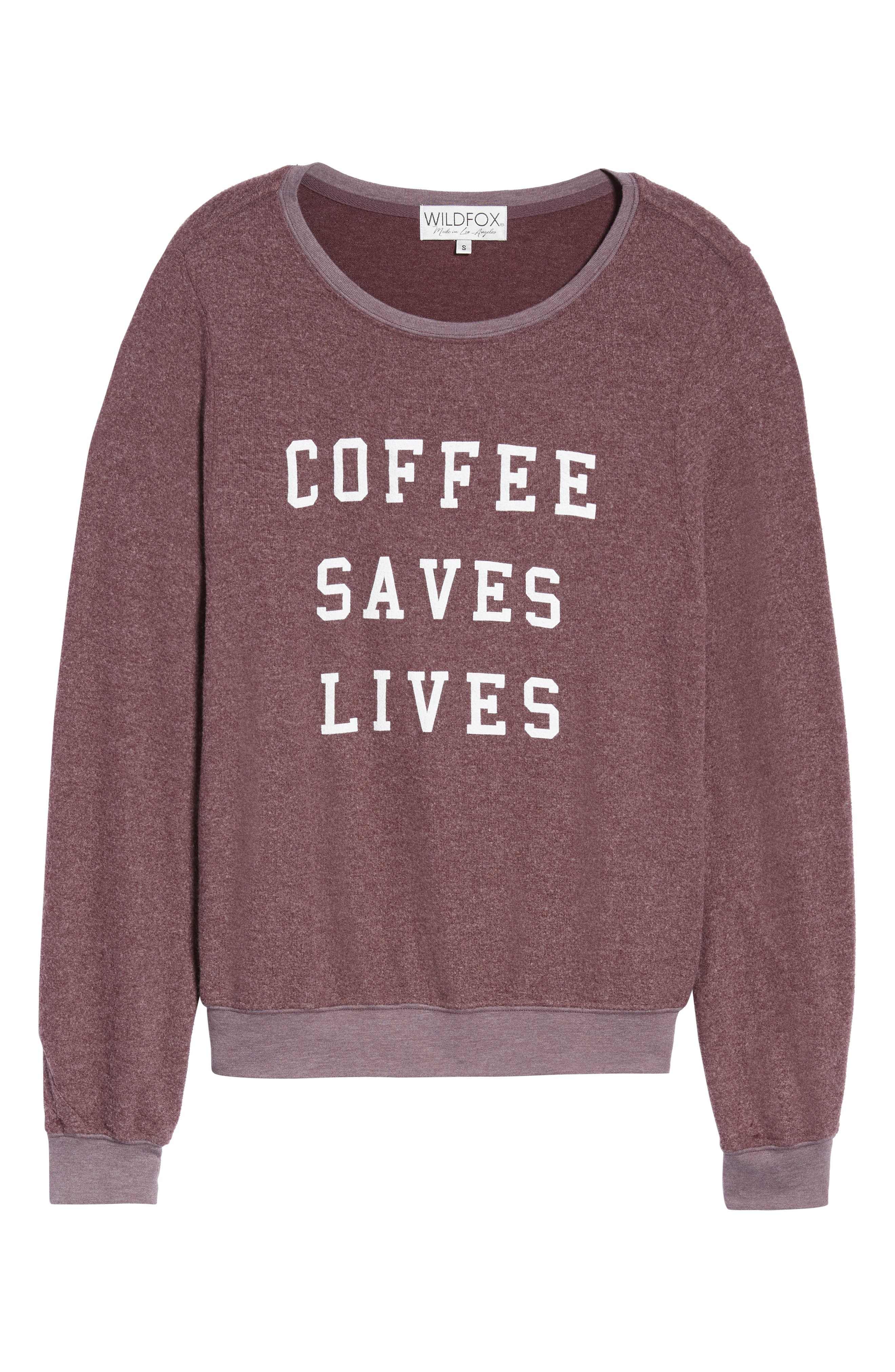 Coffee Saves Lives Baggy Beach Jumper Pullover,                             Alternate thumbnail 6, color,                             CRUSHED BERRY