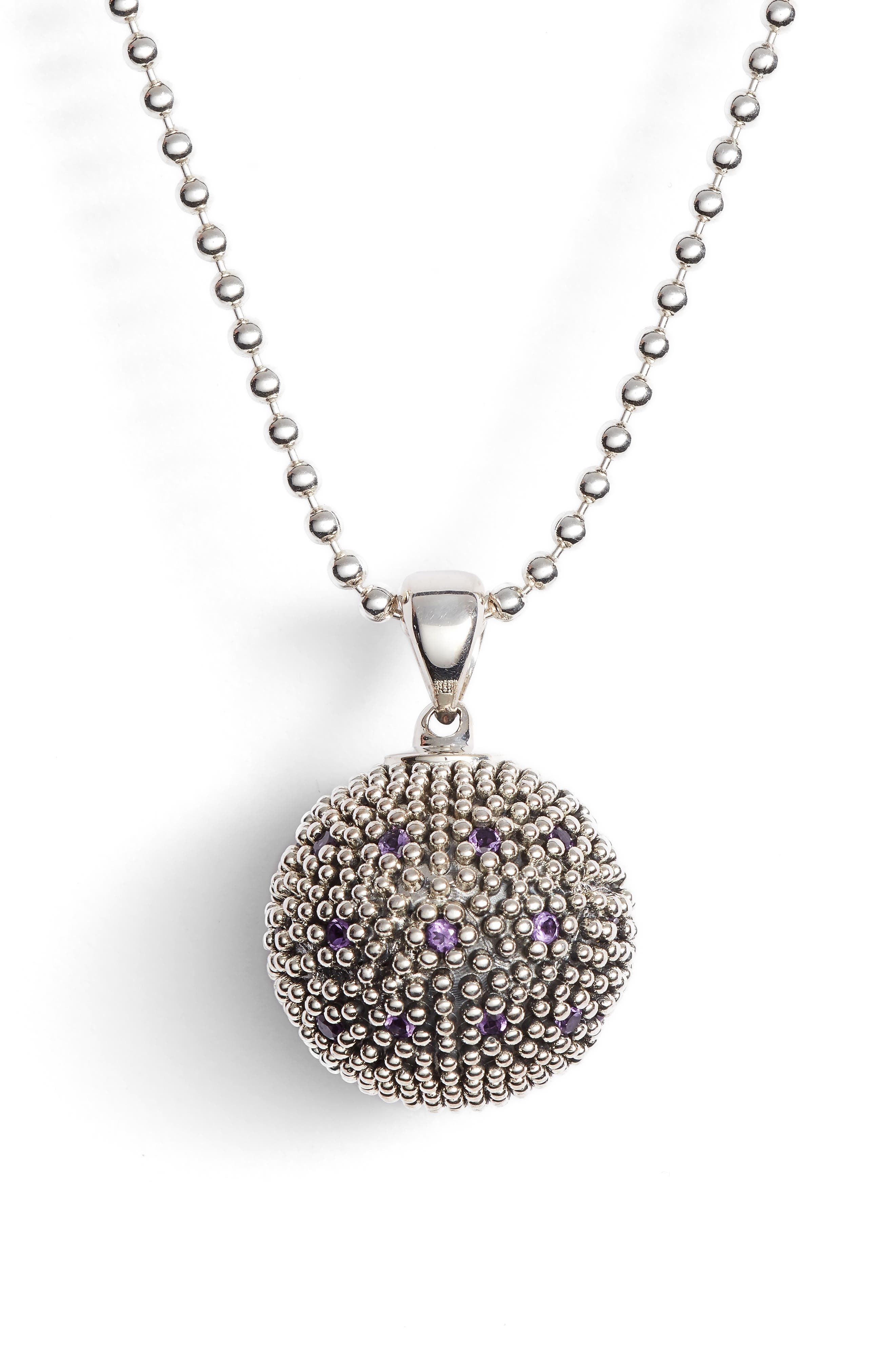 Signature Gifts Pavé & Gemstone Ball Pendant,                             Alternate thumbnail 4, color,                             SILVER/ AMETHYST