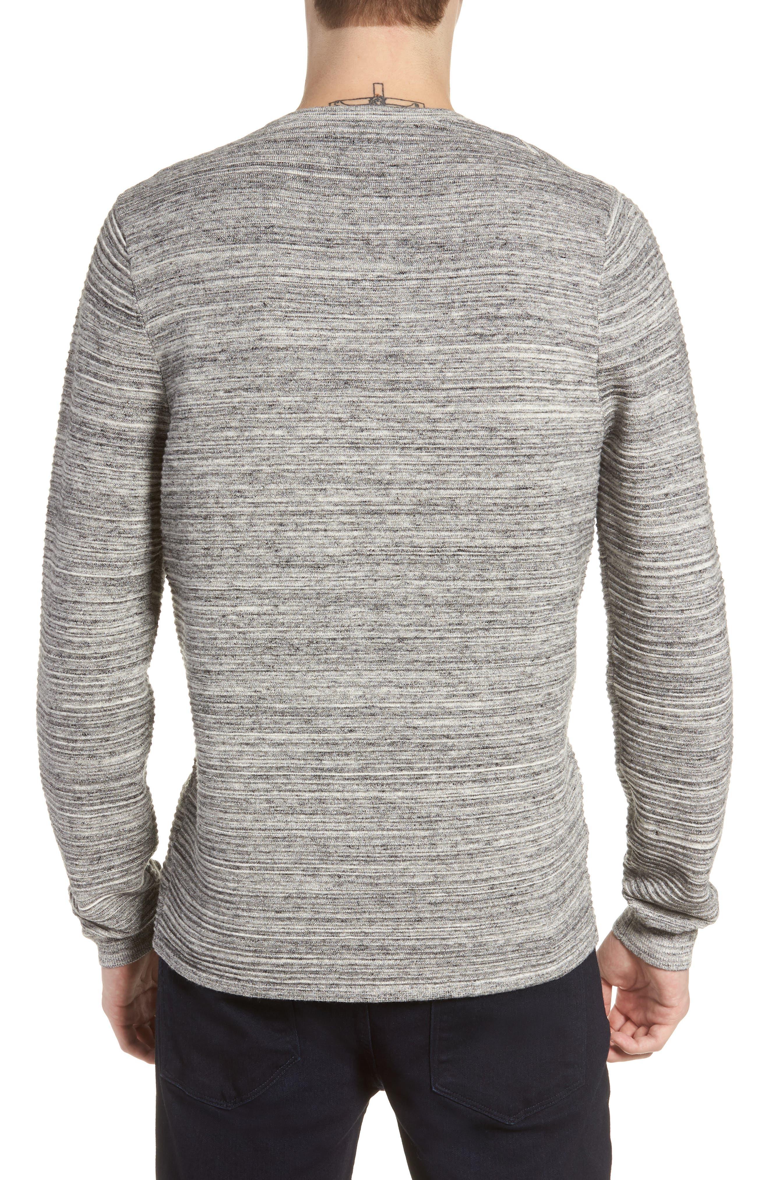 Ottoman Crewneck Sweater,                             Alternate thumbnail 2, color,                             GREY TORNADO SPACEDYE