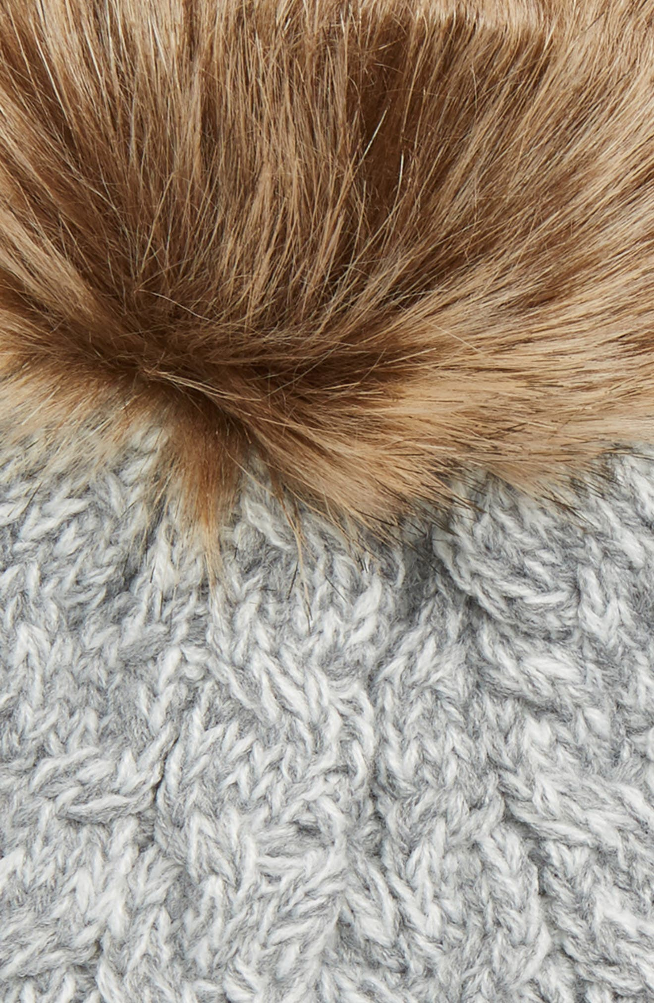 Cable Knit Beanie with Faux Fur Pom,                             Alternate thumbnail 2, color,                             GREY