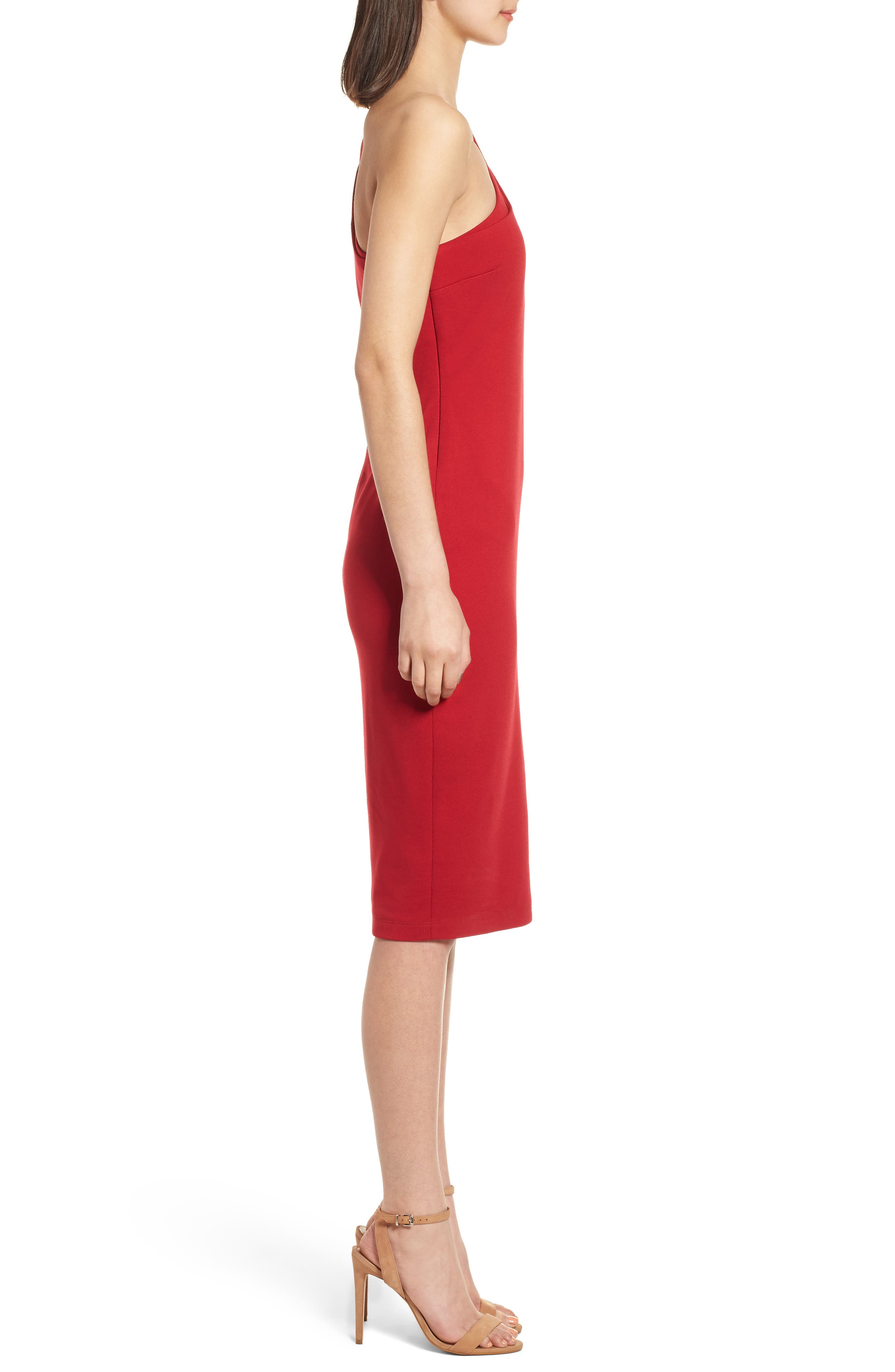 Sidewinder One-Shoulder Body-Con Dress,                             Alternate thumbnail 3, color,                             700