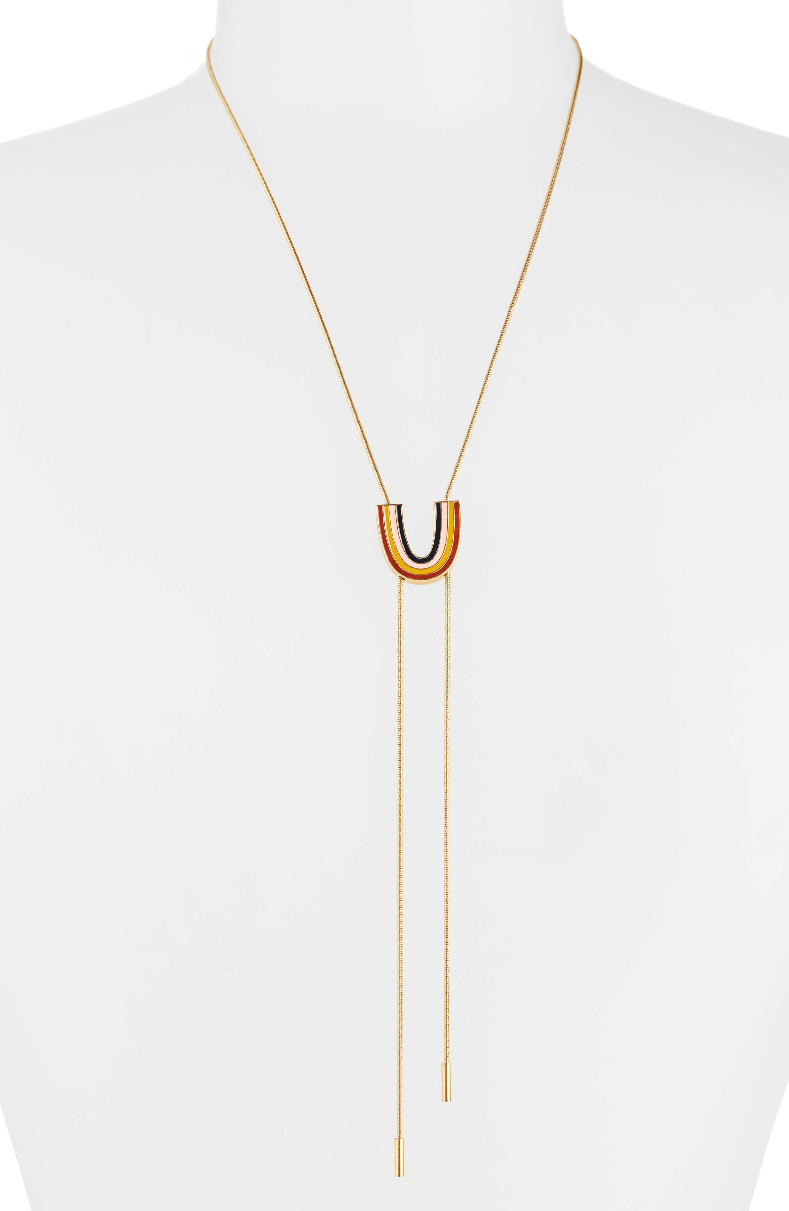Enamel Rainbow Bolo Necklace,                             Main thumbnail 1, color,                             VINTAGE GOLD