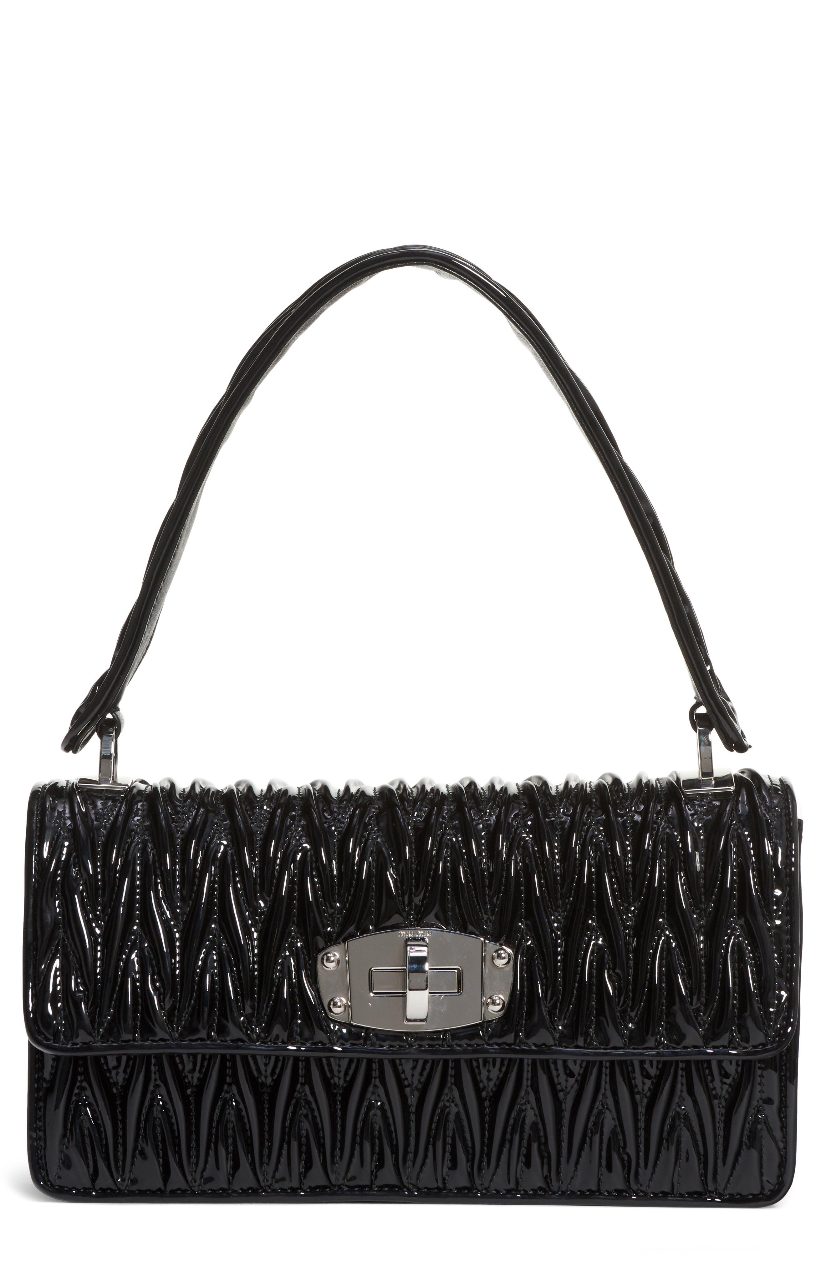 Vernice Matelassé Quilted Leather Shoulder Bag,                         Main,                         color, NERO
