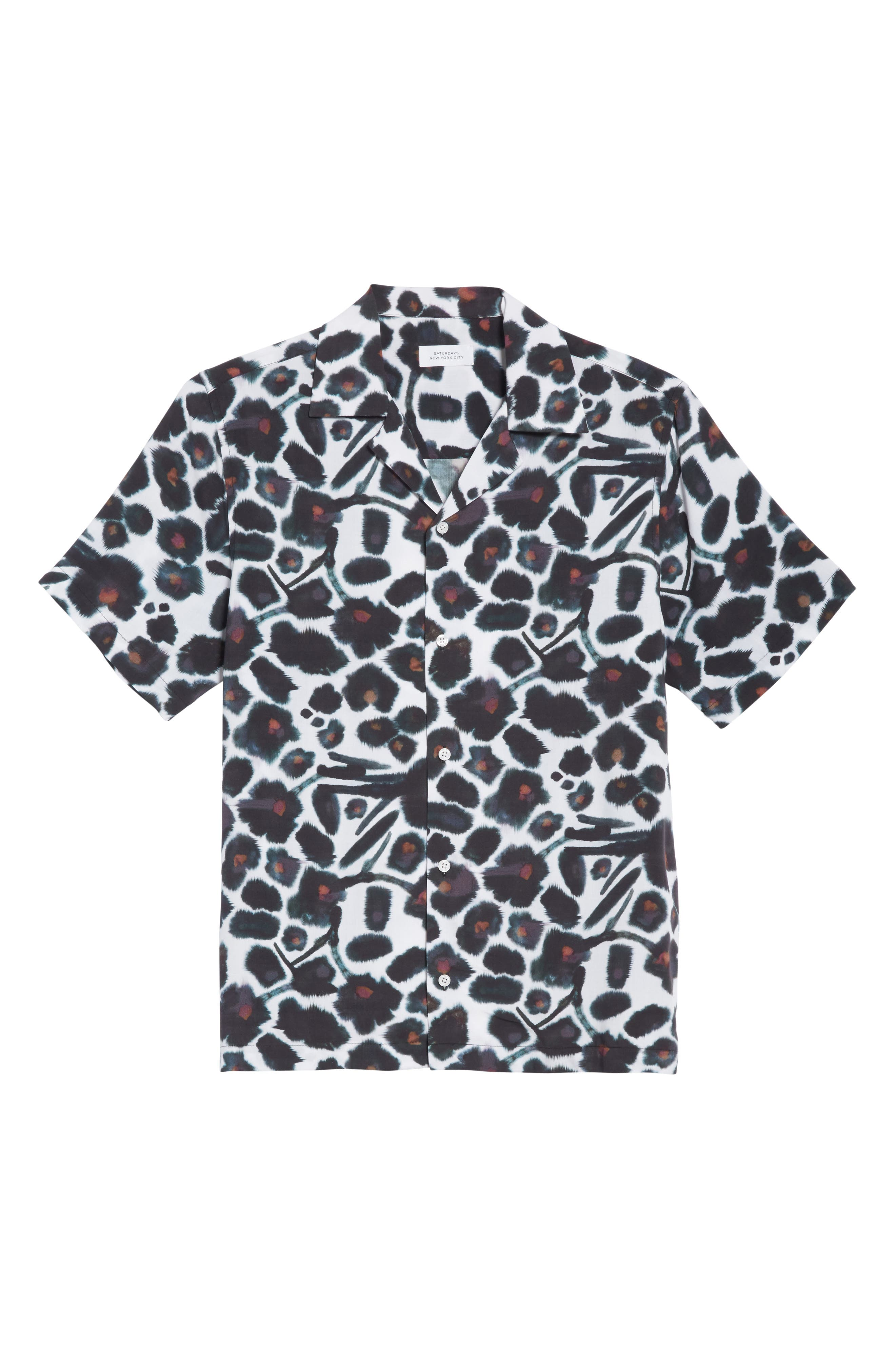 Canty Watercolor Floral Print Camp Shirt,                             Alternate thumbnail 6, color,                             599