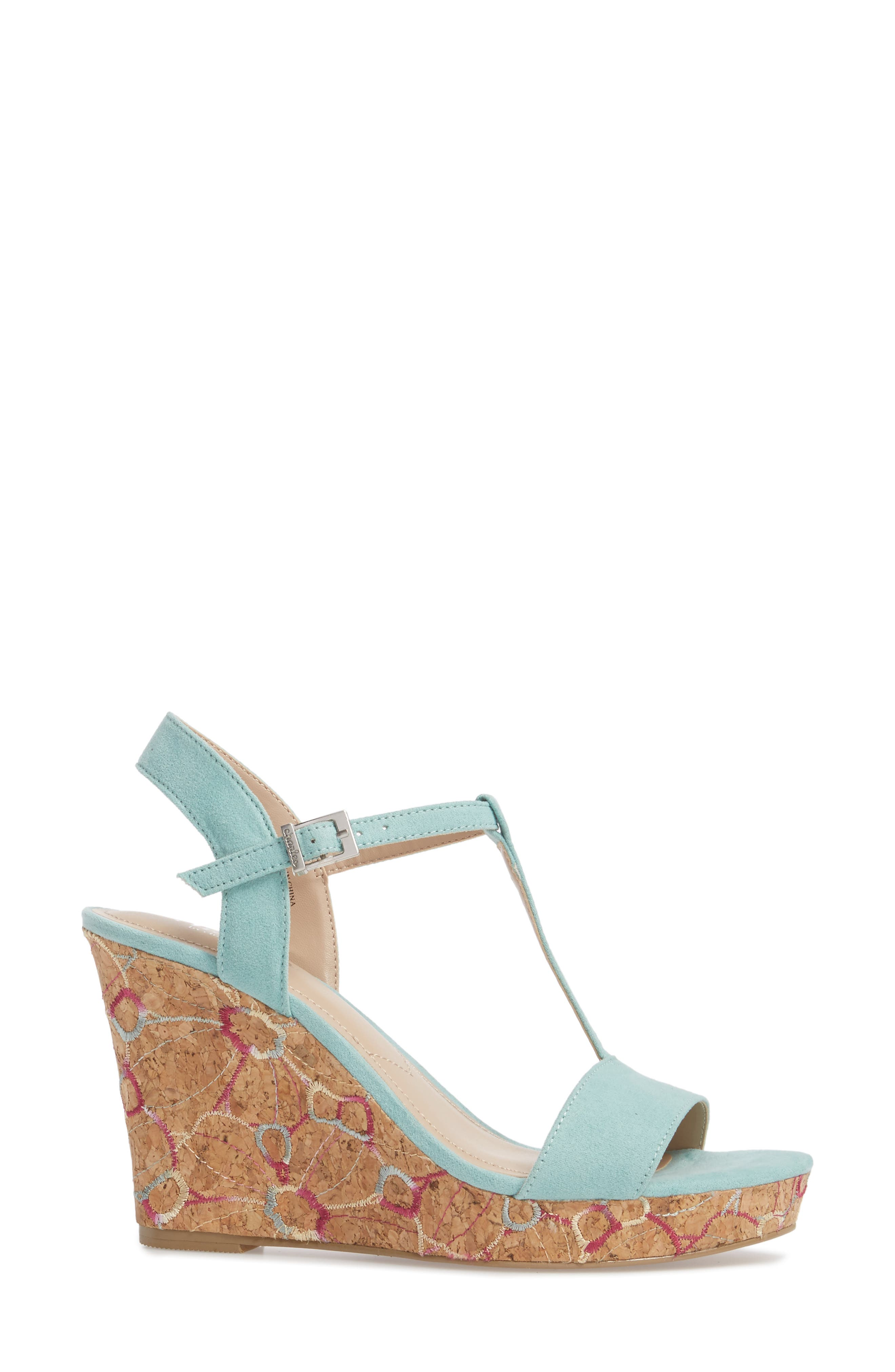 Laney Embroidered Wedge Sandal,                             Alternate thumbnail 3, color,                             MINT GREEN SUEDE