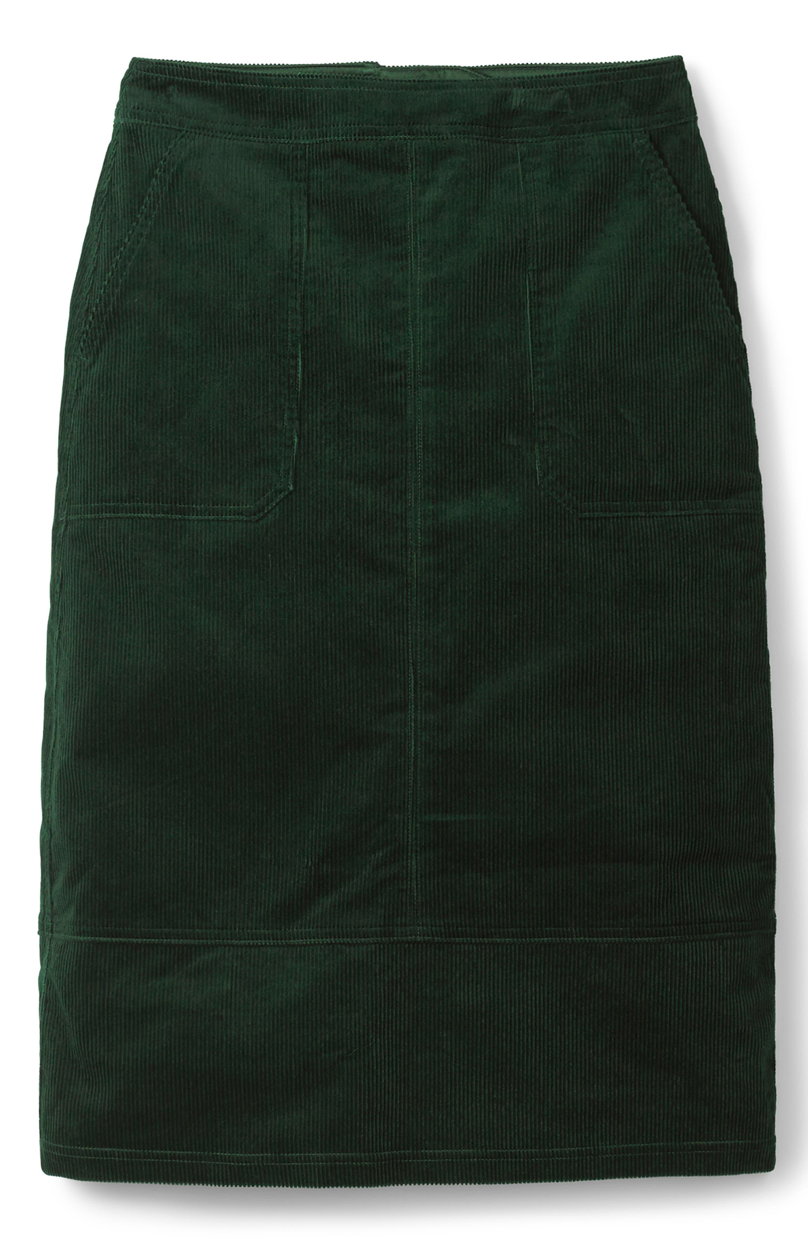 Patch Pocket Corduroy Midi Skirt,                             Alternate thumbnail 5, color,                             CHATSWORTH GREEN