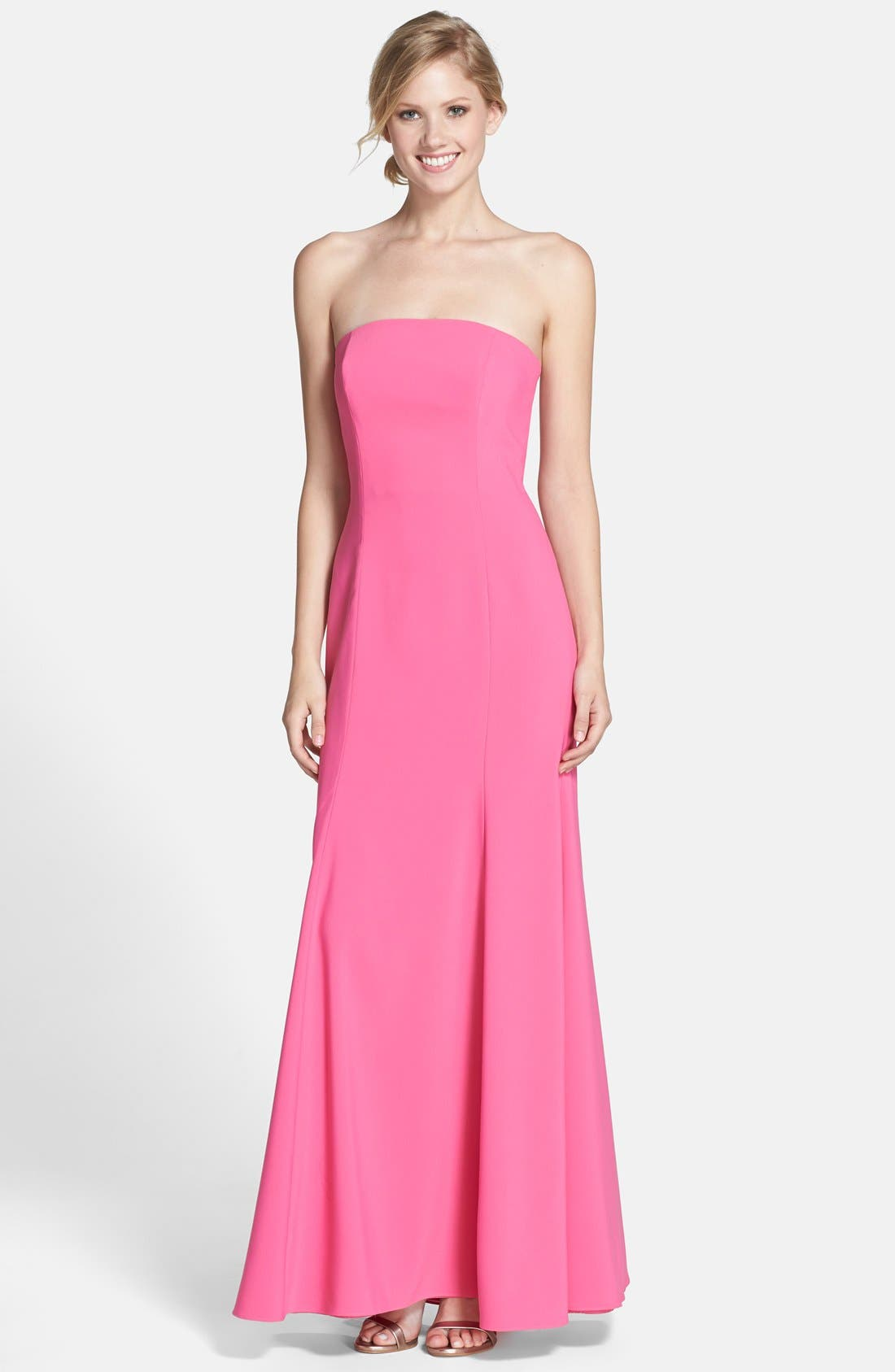 Strapless Crepe Trumpet Gown,                             Main thumbnail 3, color,