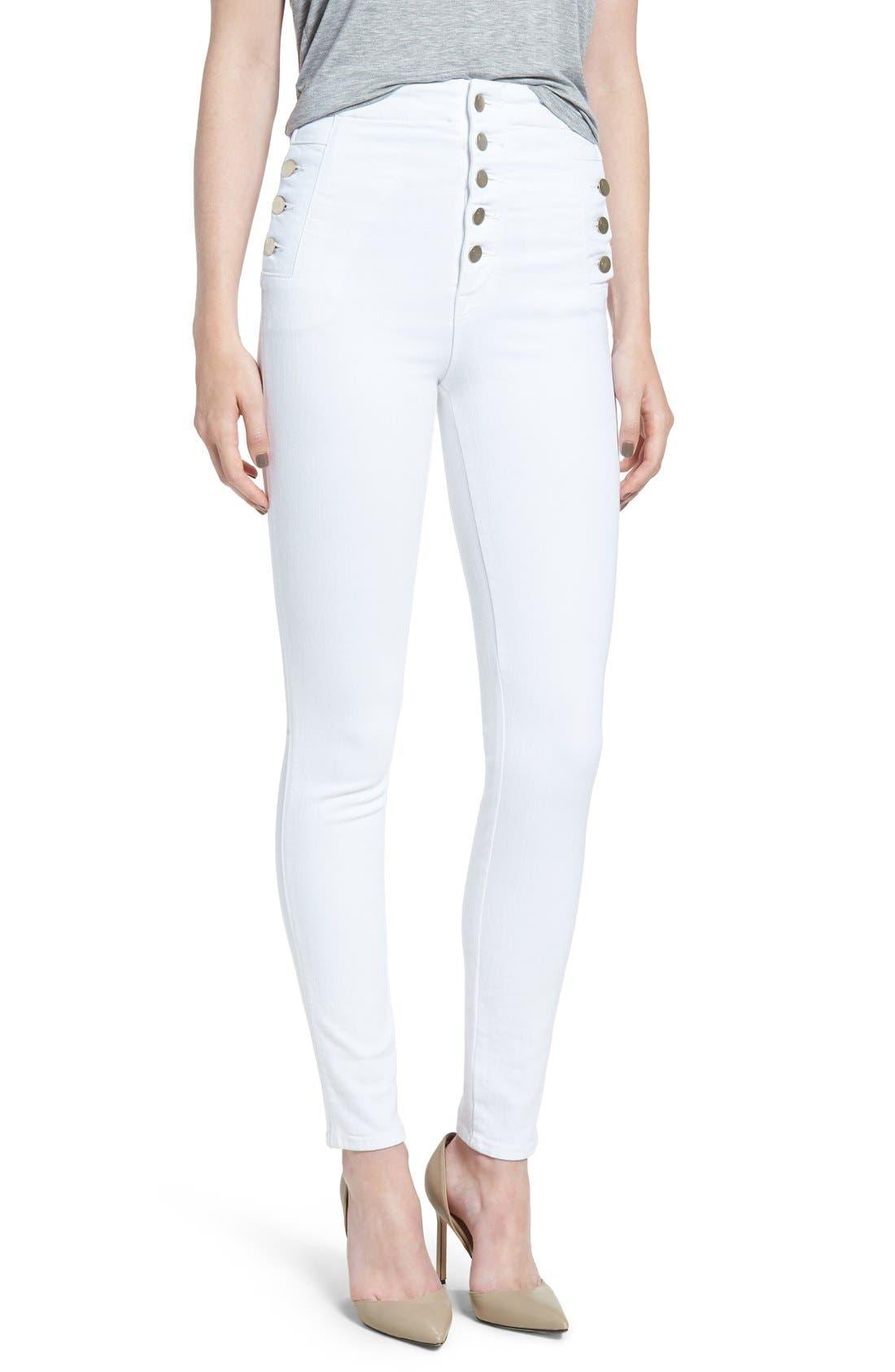 'Natasha Sky High' High Rise Skinny Jeans,                             Alternate thumbnail 9, color,                             100