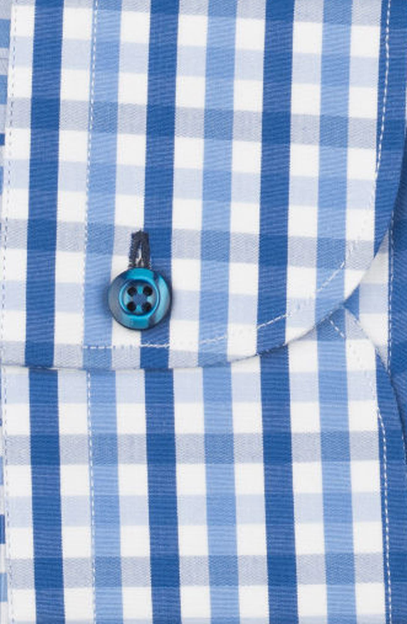 Regular Fit Check Dress Shirt,                             Alternate thumbnail 6, color,                             BLUE