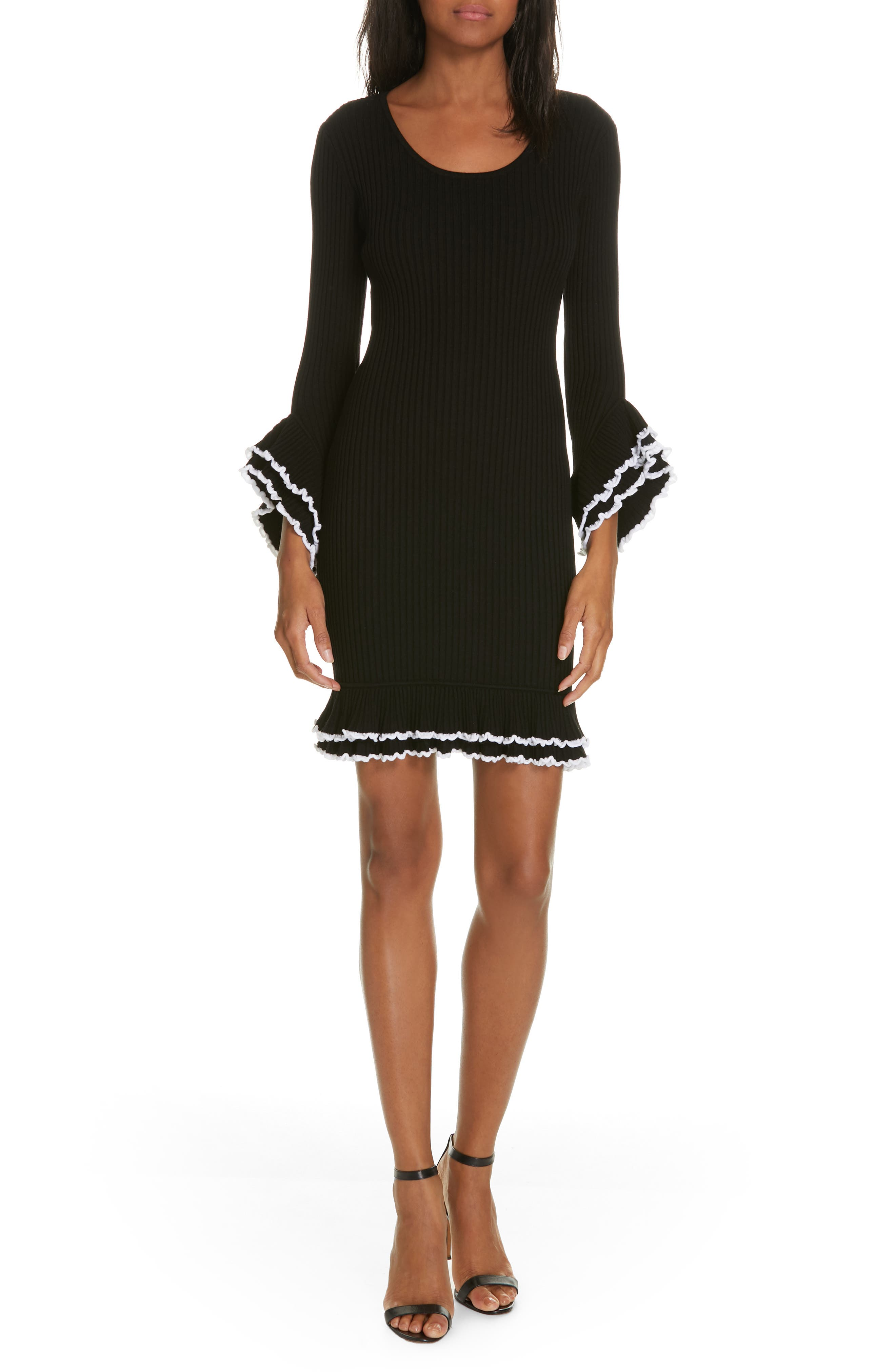 Milly Ribbed Ruffle Detail Dress, Size Petite - Black
