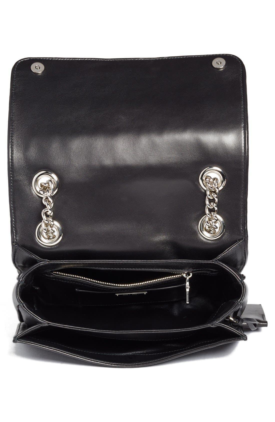 'Club' Matelassé Leather Shoulder Bag,                             Alternate thumbnail 4, color,                             001