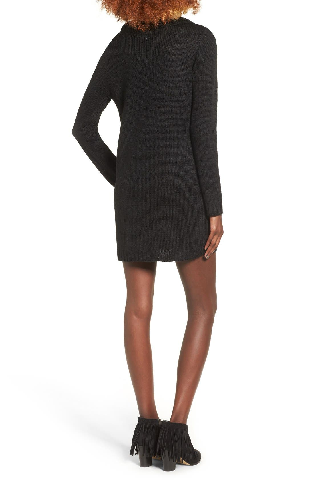 Turtleneck Sweater Dress,                             Alternate thumbnail 3, color,                             001