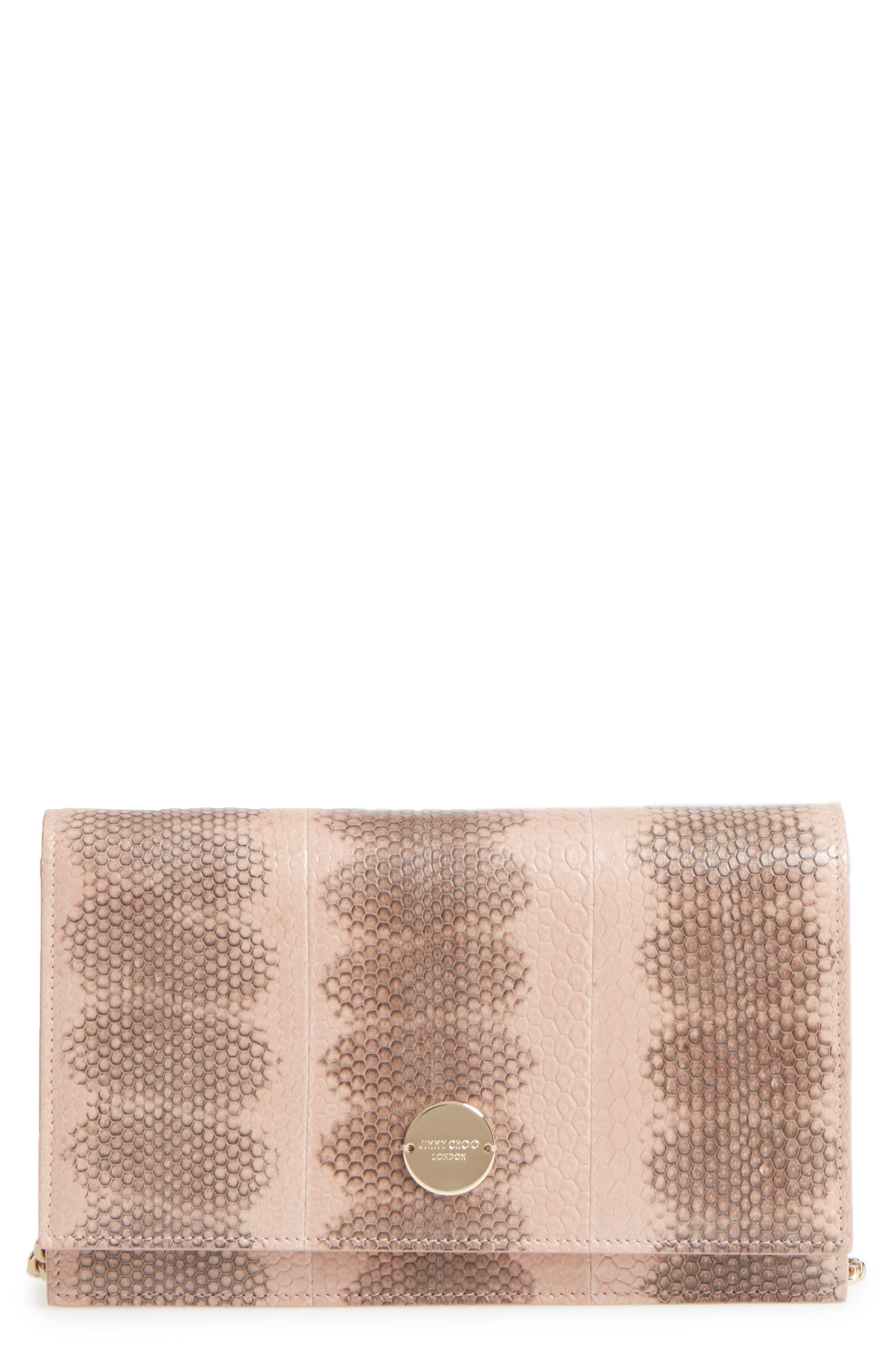 Florence Genuine Snakeskin Crossbody Bag,                             Main thumbnail 1, color,                             650