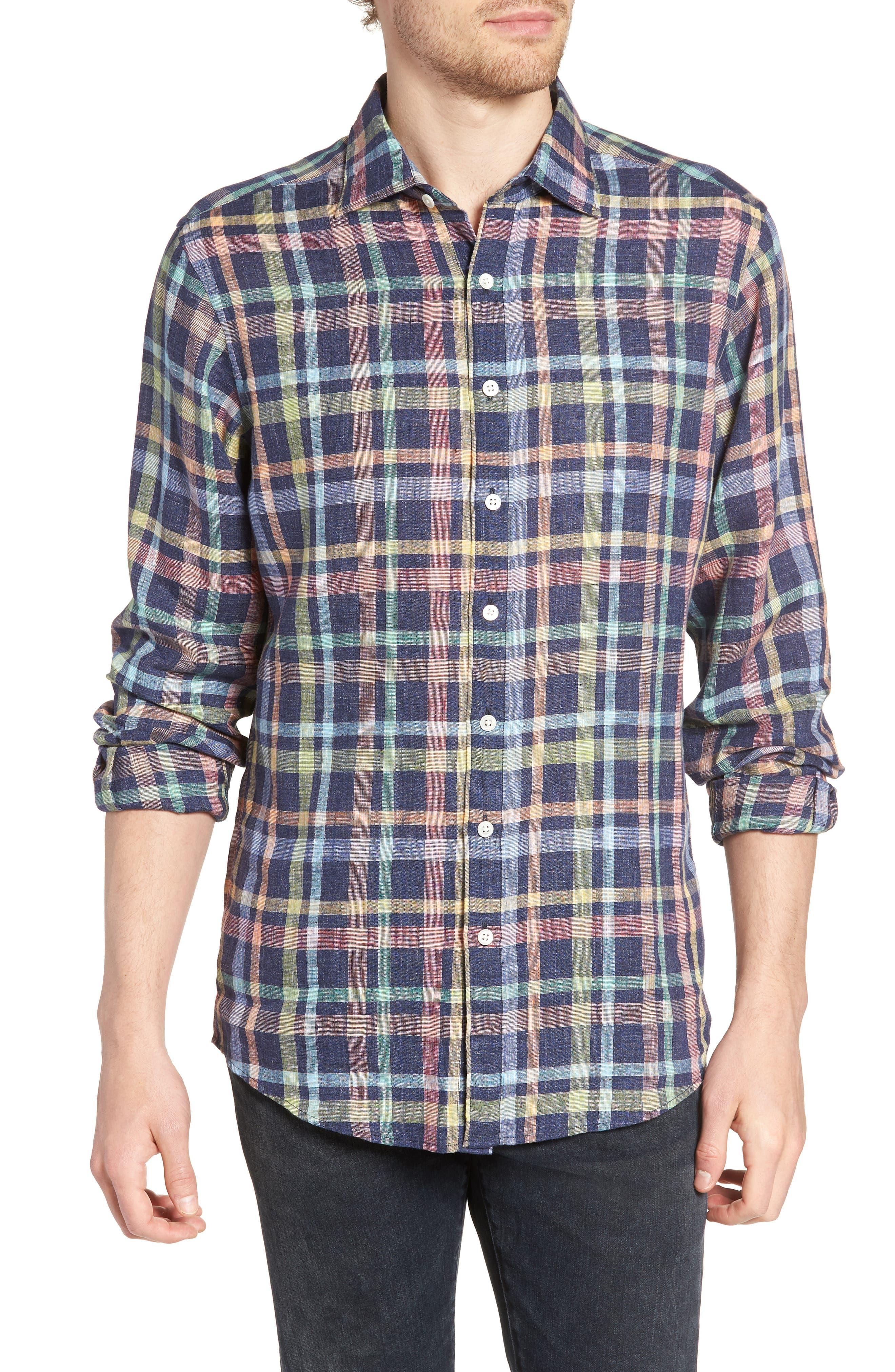 Stirling Plaid Linen Sport Shirt,                         Main,                         color, 401