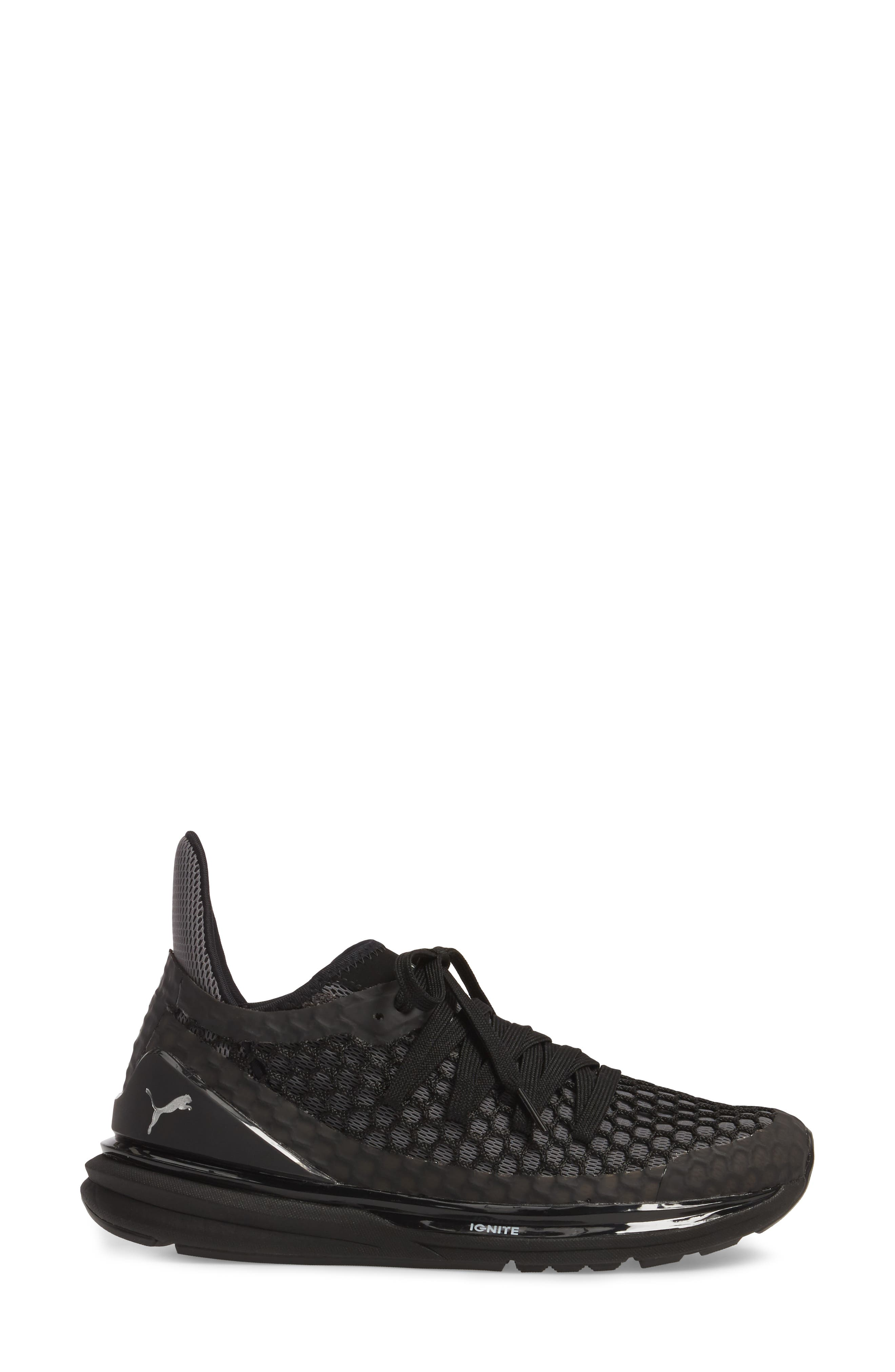 PUMA,                             Ignite Limitless Netfit Running Shoe,                             Alternate thumbnail 3, color,                             001