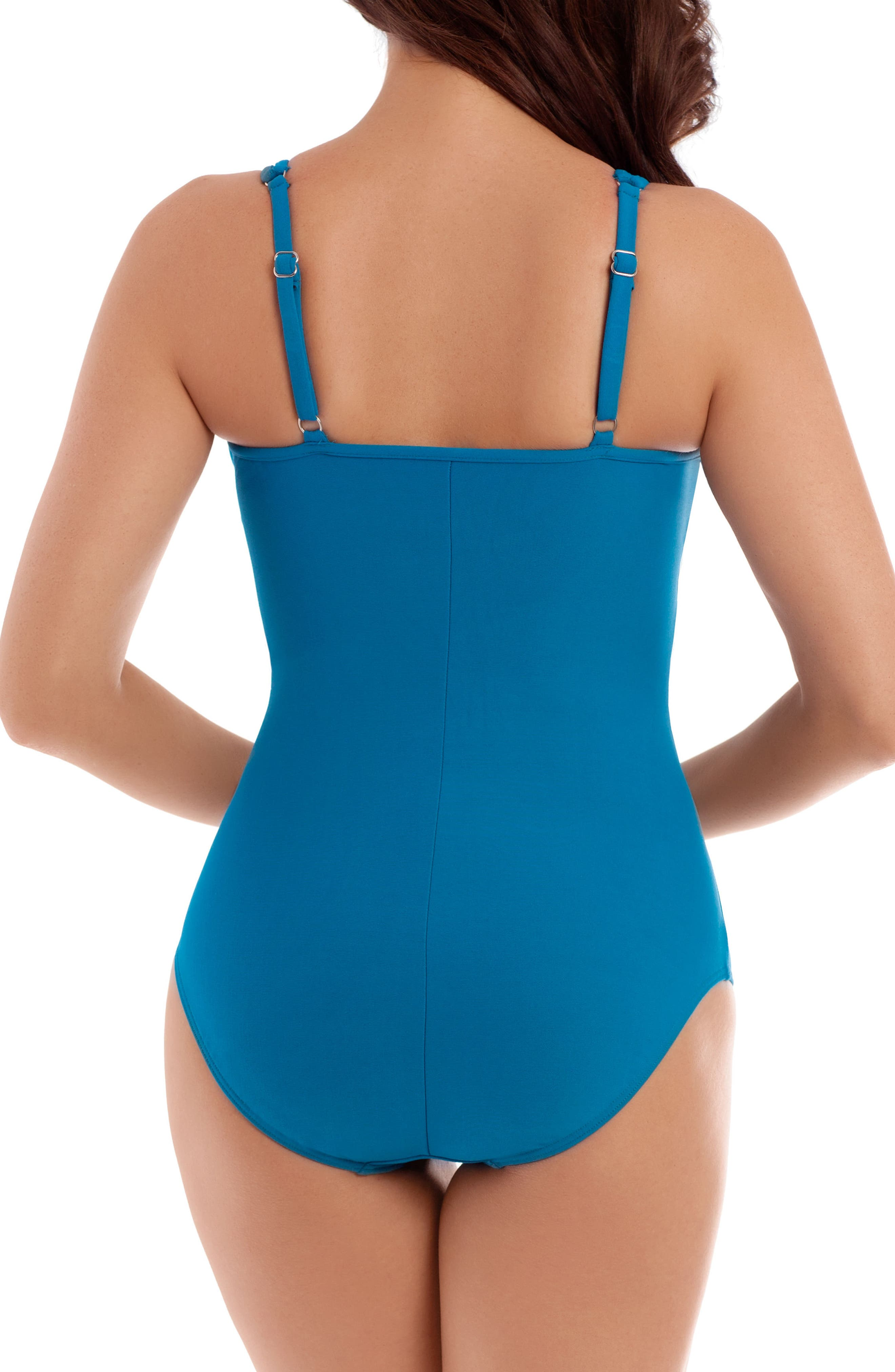 Illusionists Bandwith High Neck Underwire One-Piece Swimsuit,                             Alternate thumbnail 2, color,