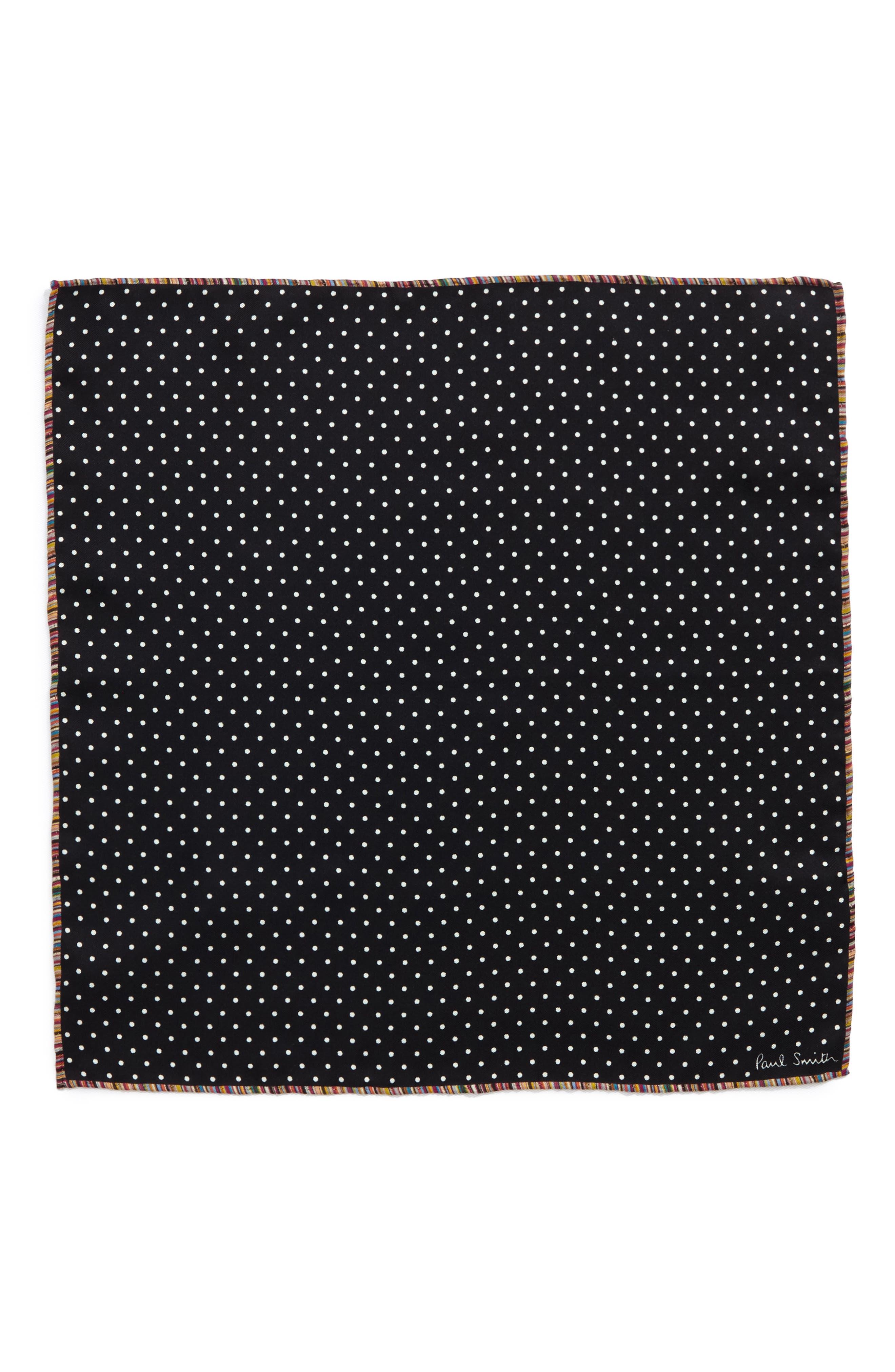 Multistripe Edge Dot Silk Pocket Square,                             Alternate thumbnail 2, color,                             001
