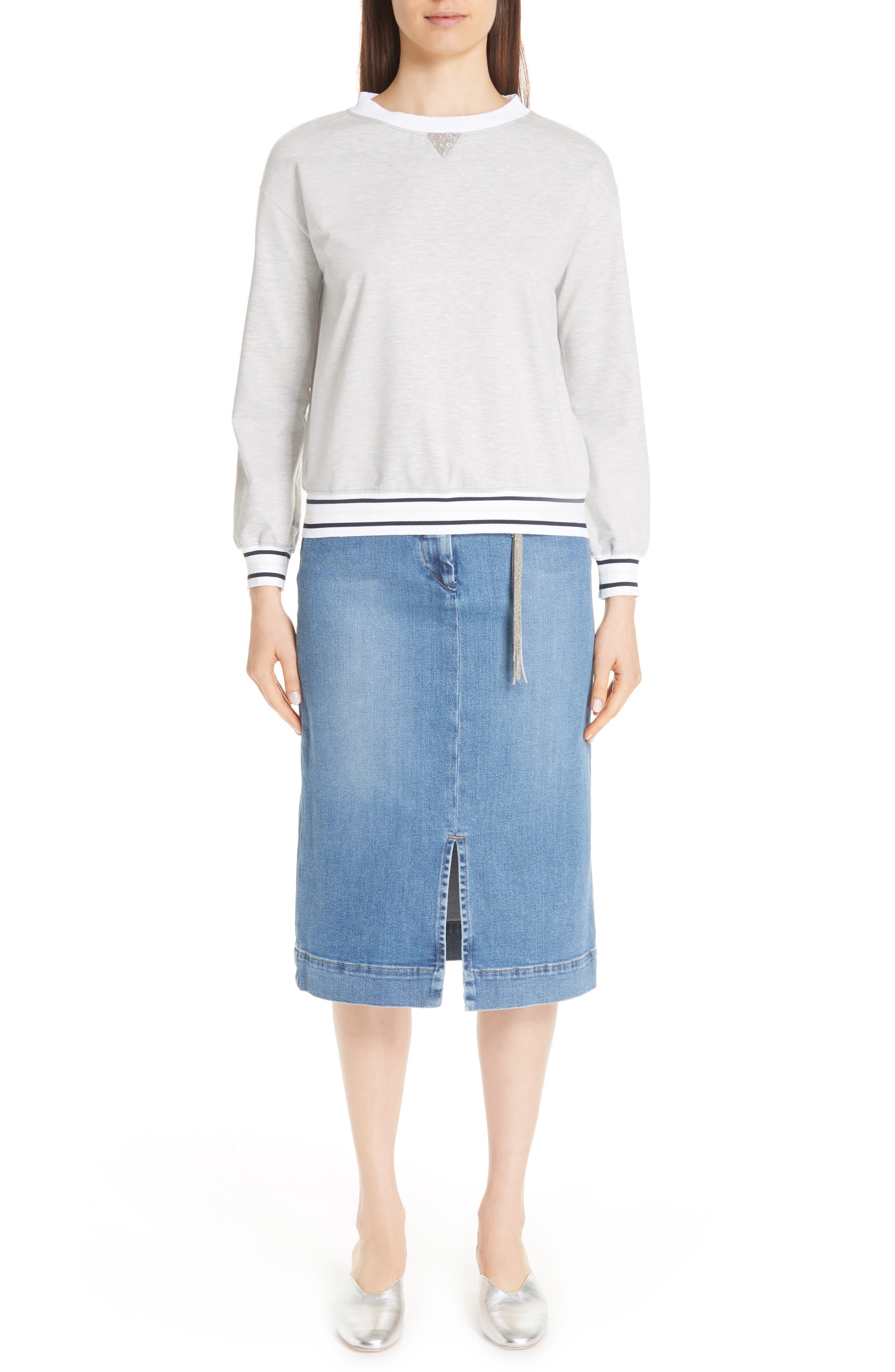 Fabiana Filippi Chain Detail Sweatshirt, 8 IT - Grey
