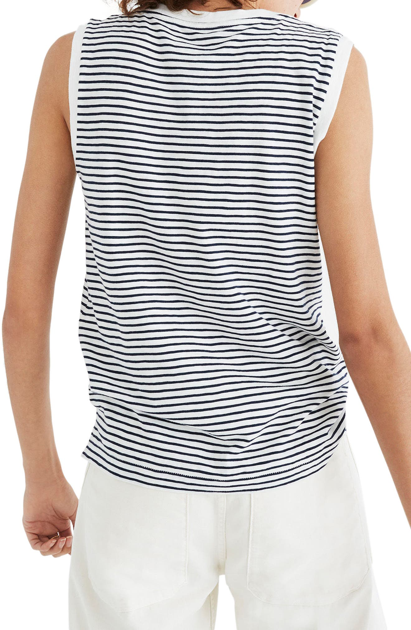 Whisper Cotton Stripe Crewneck Muscle Tank,                             Main thumbnail 1, color,                             400