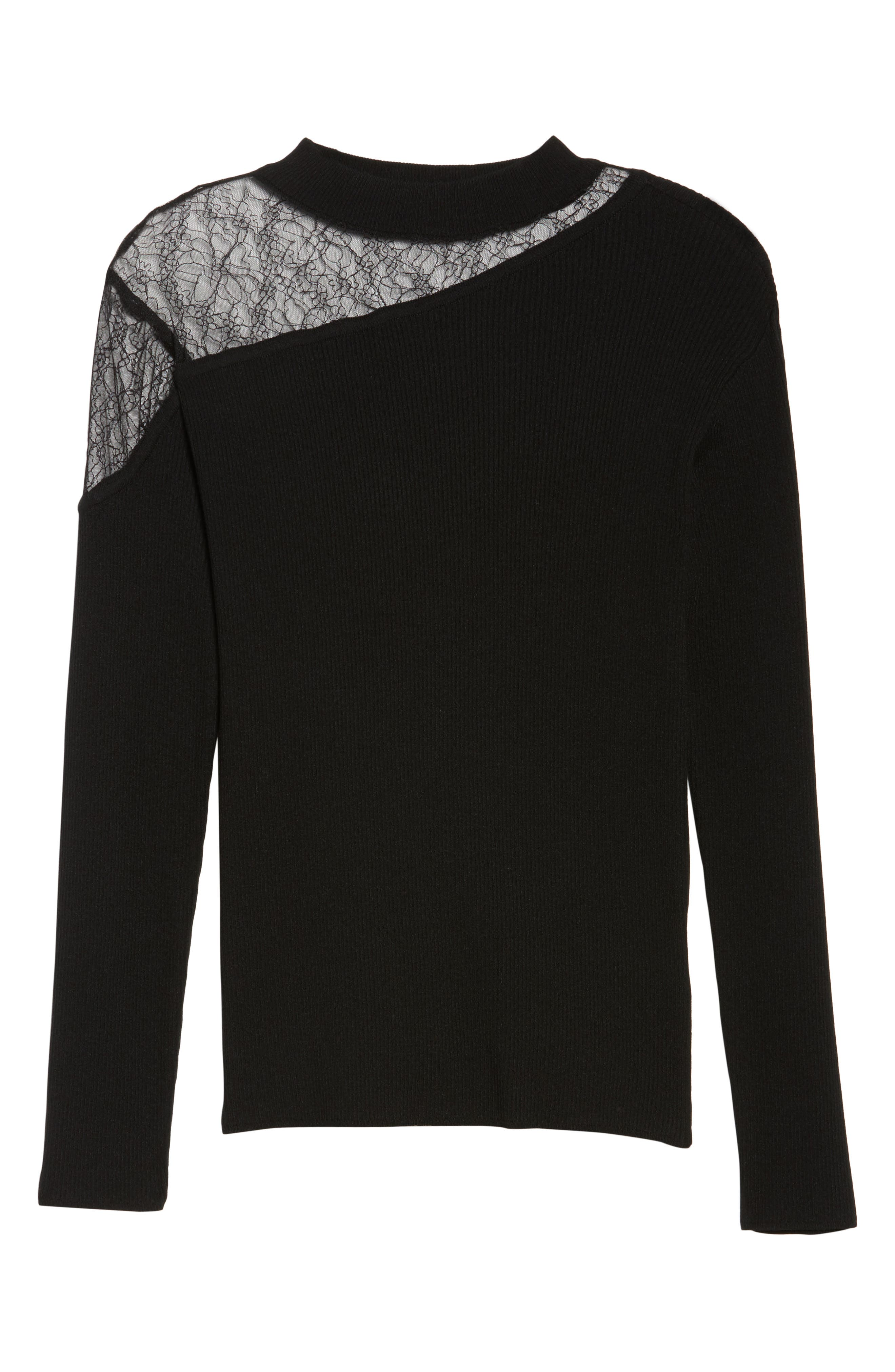 Lace Inset Ribbed Sweater,                             Alternate thumbnail 6, color,